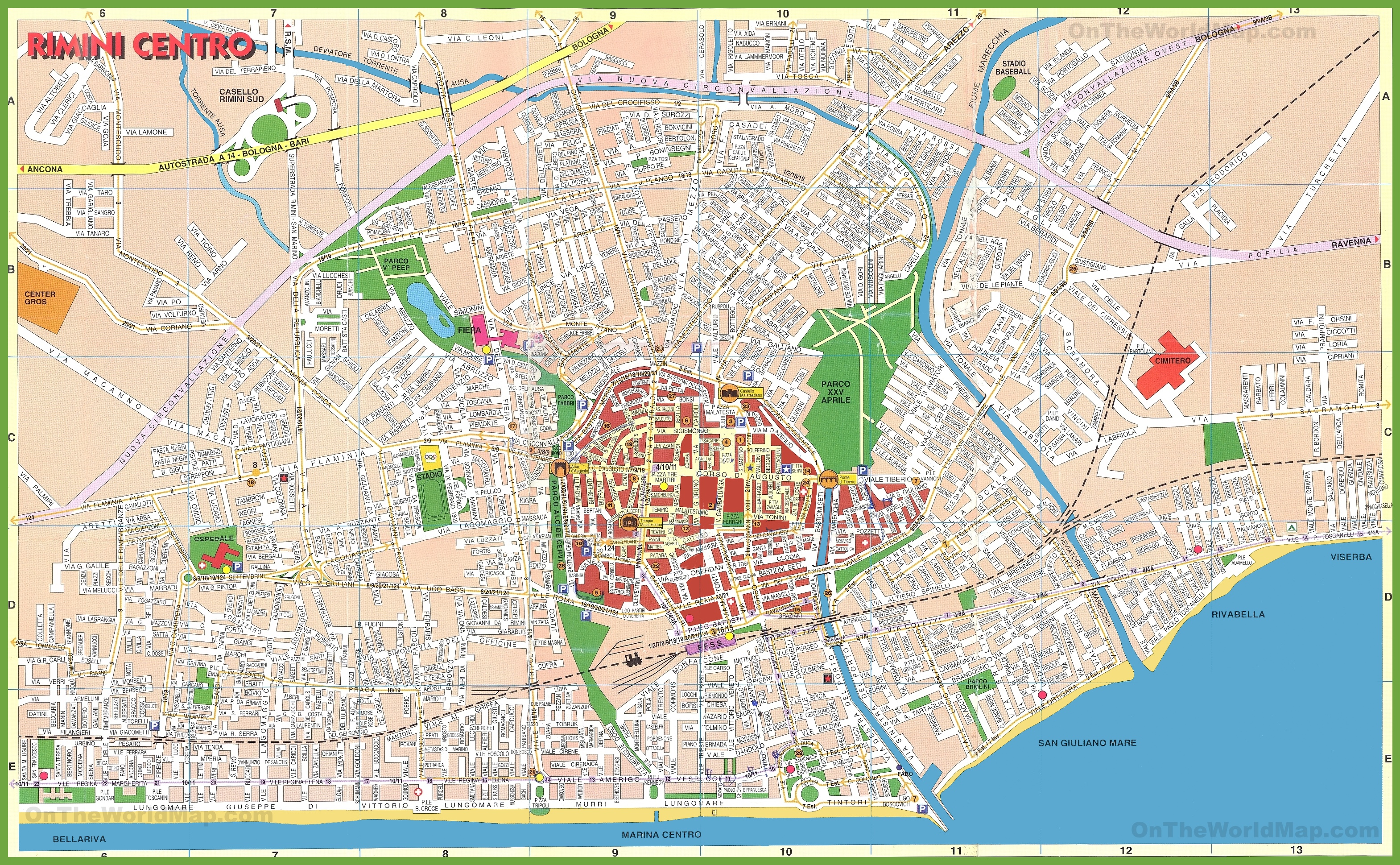 Rimini city centre map