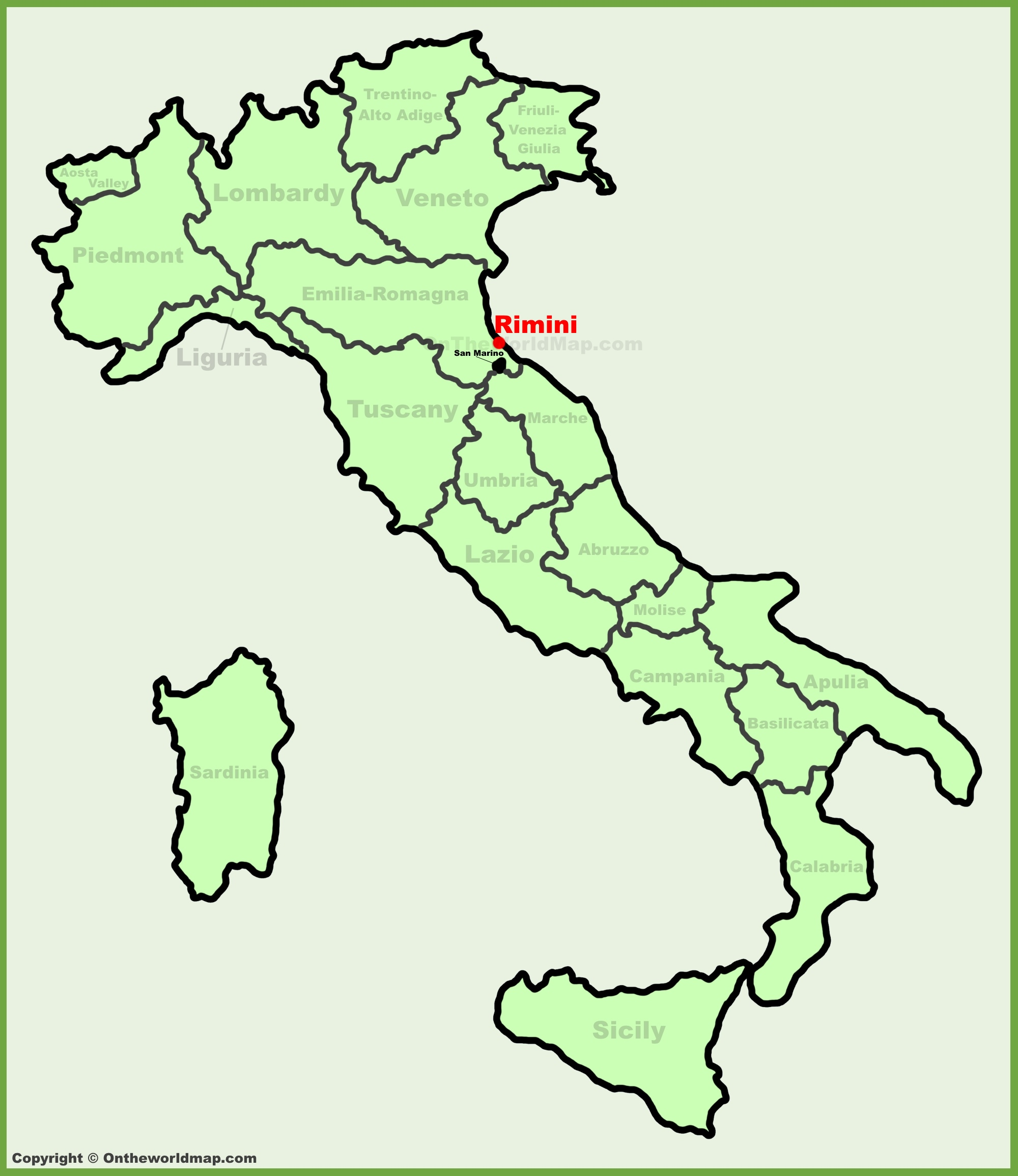 Rimini location on the Italy map