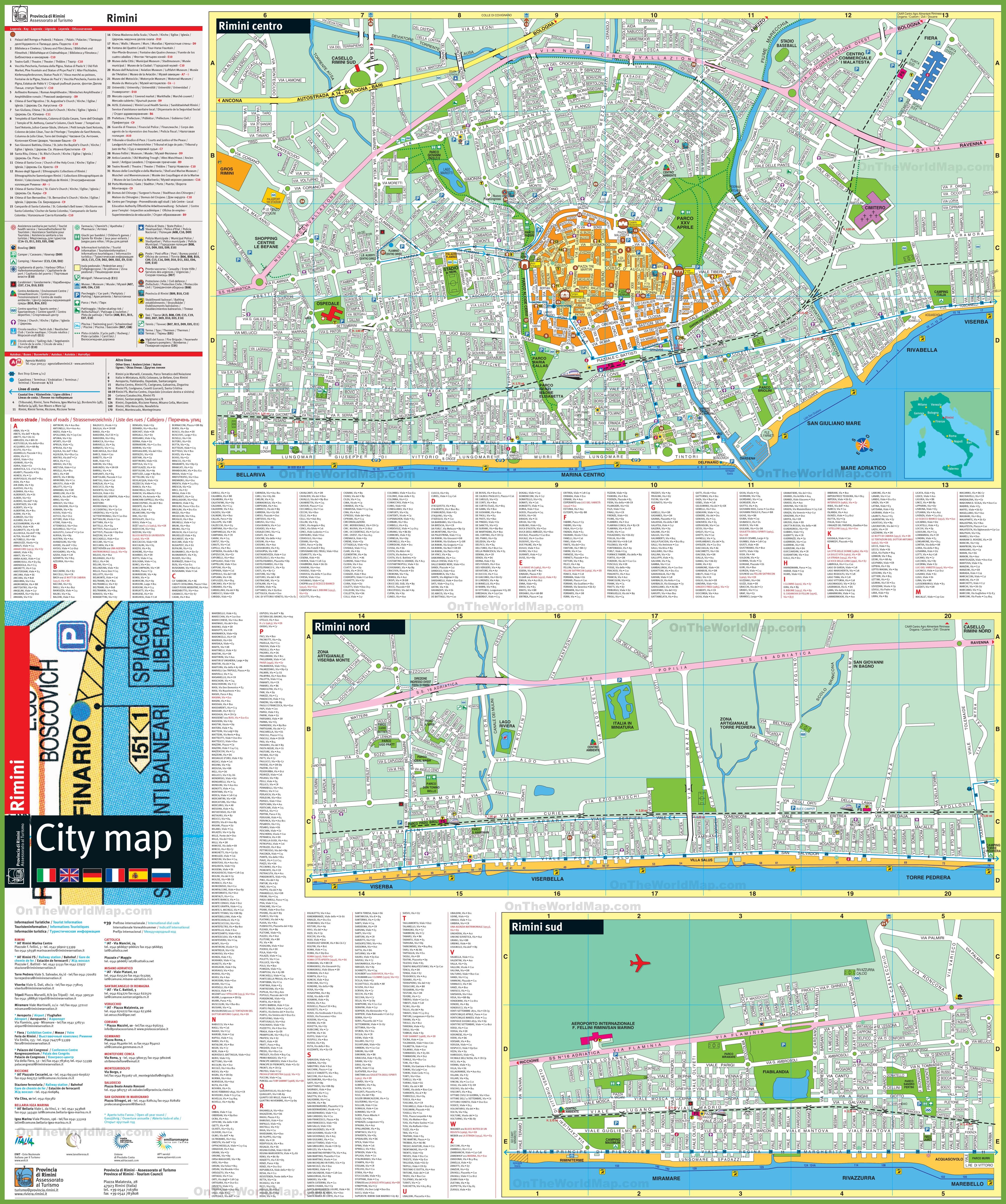 Rimini tourist attractions map