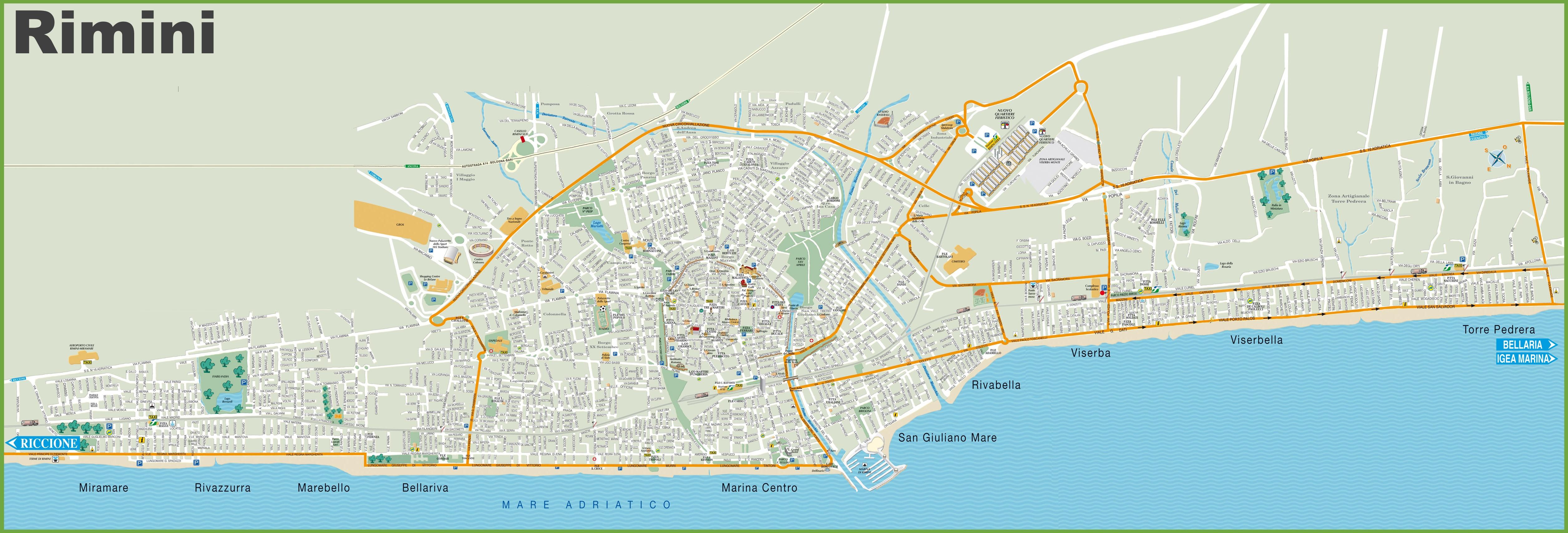 Rimini tourist map