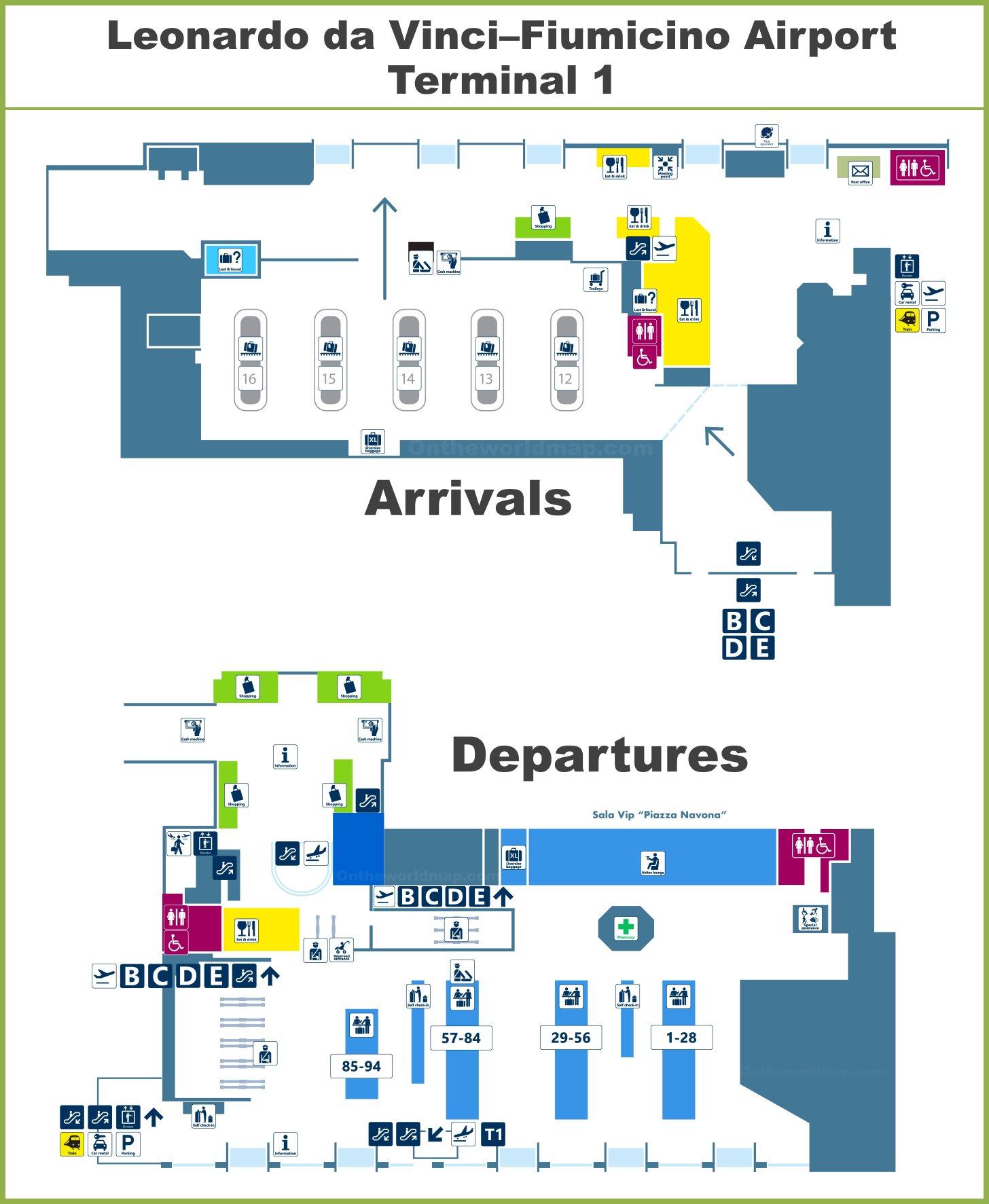 map of rome fiumicino airport Fiumicino Airport Terminal 1 Map map of rome fiumicino airport