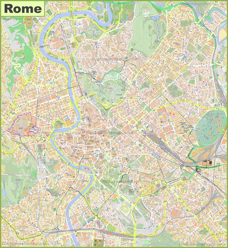 Large detailed street map of Rome