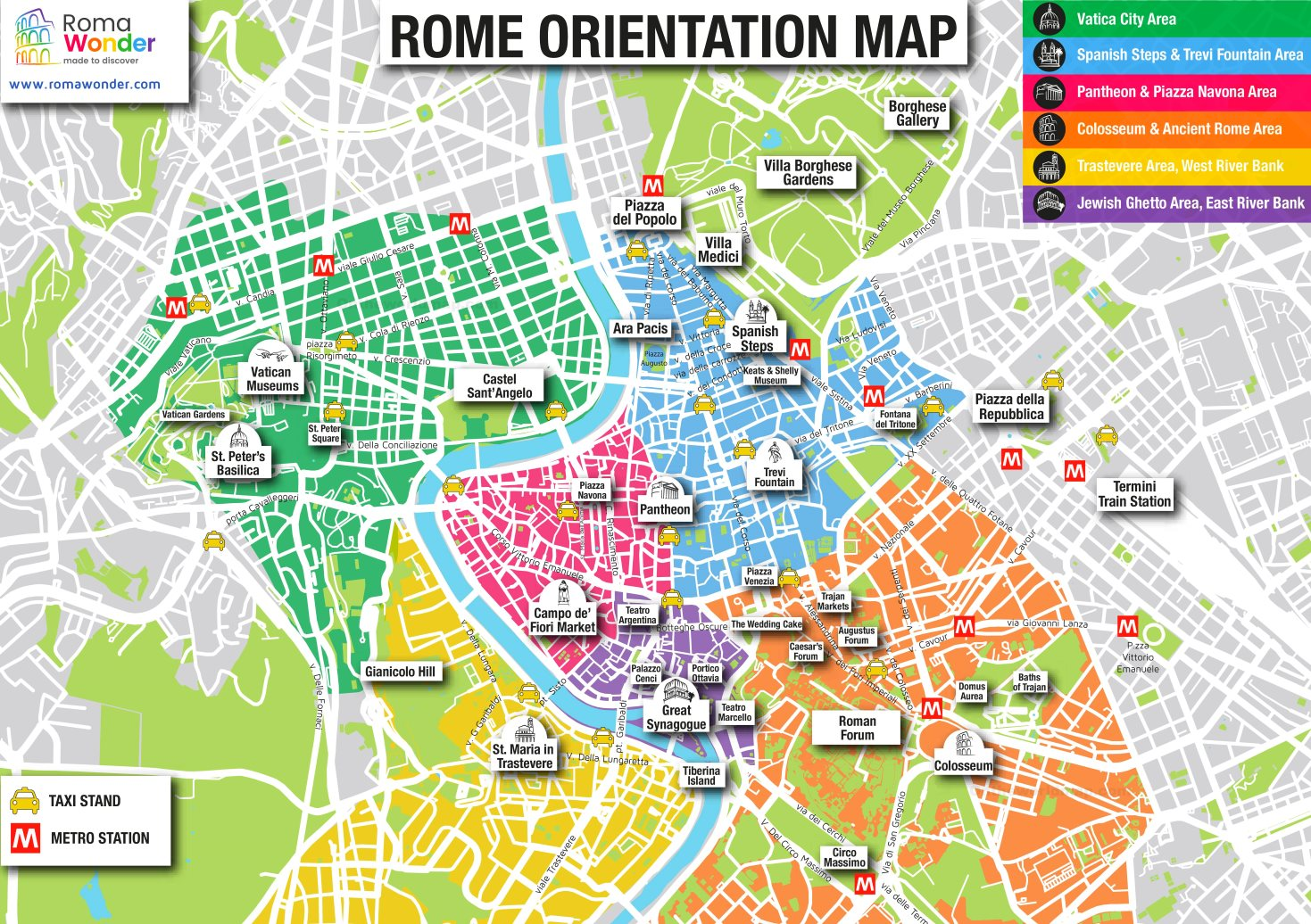 Rome main attractions map