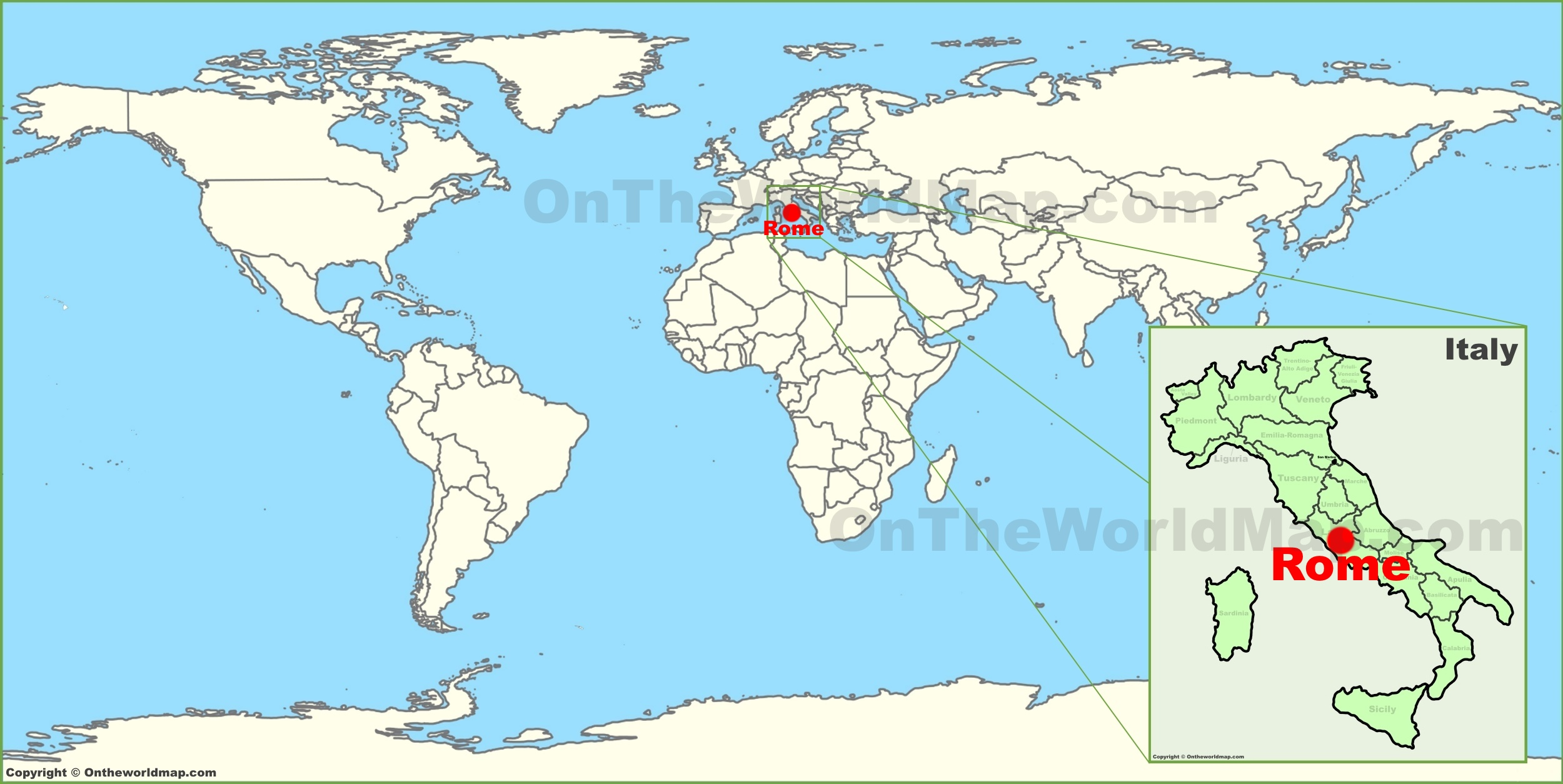 Italy On Map Of World.Rome On The World Map