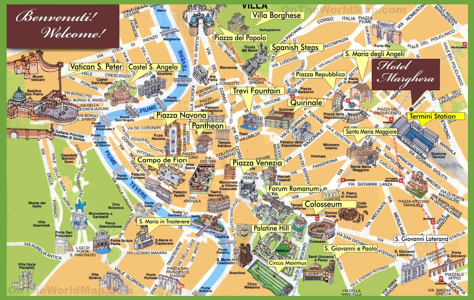 Rome Maps Italy – Rome Tourist Attractions Map