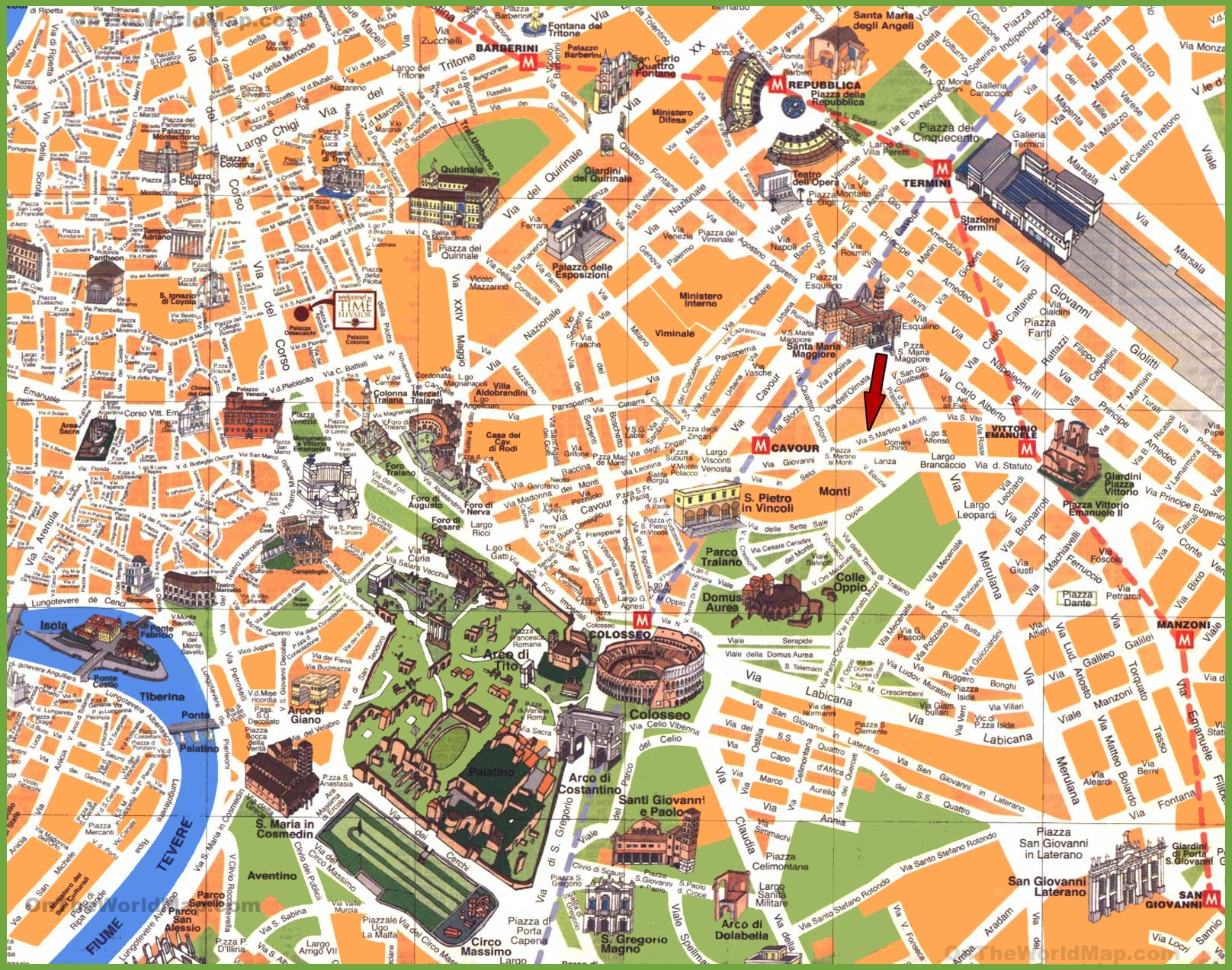 Rome travel map – Map Of Rome Showing Tourist Attractions