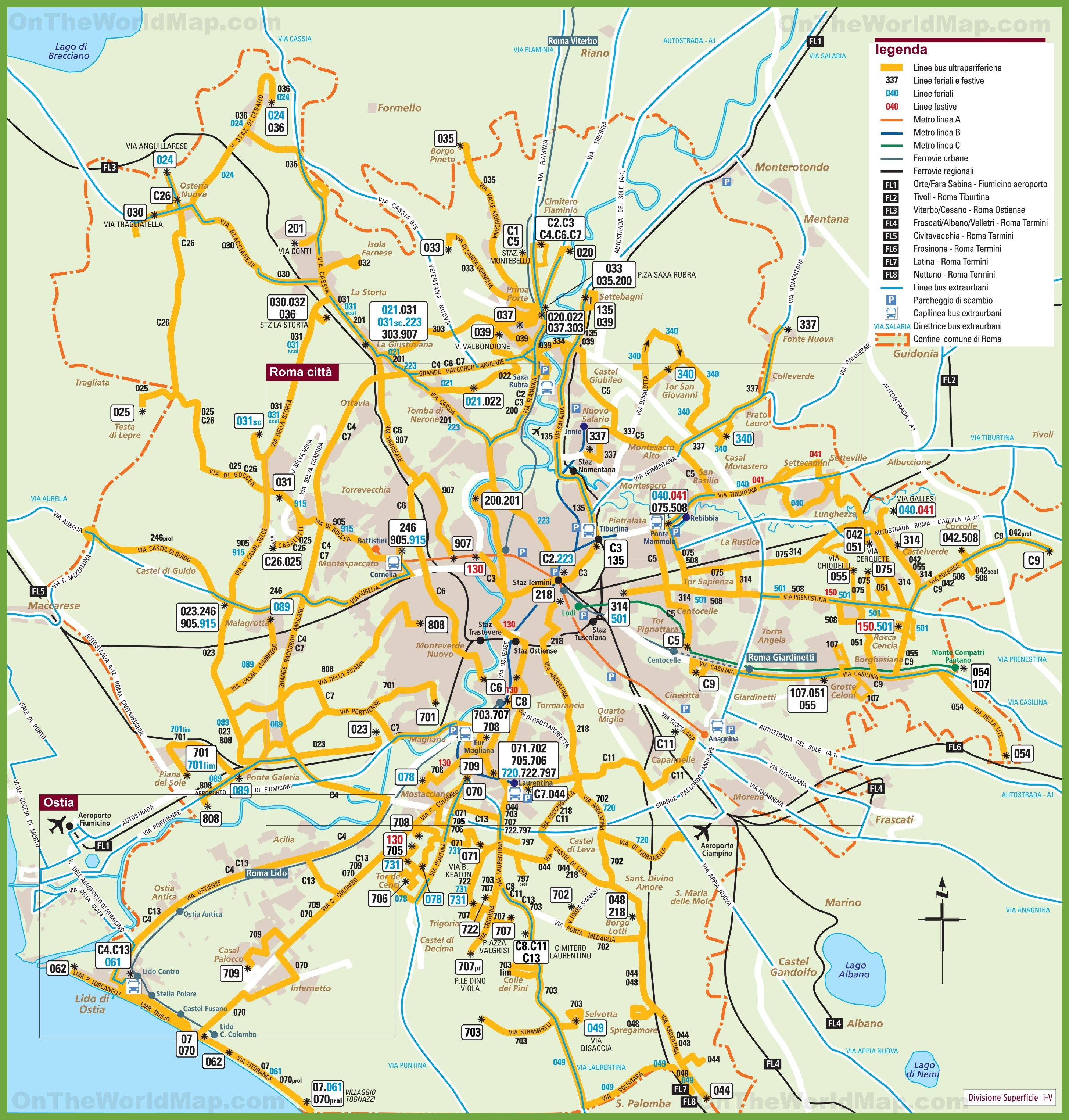 Map Of Rome Transport map of Rome and the surrounding area Map Of Rome
