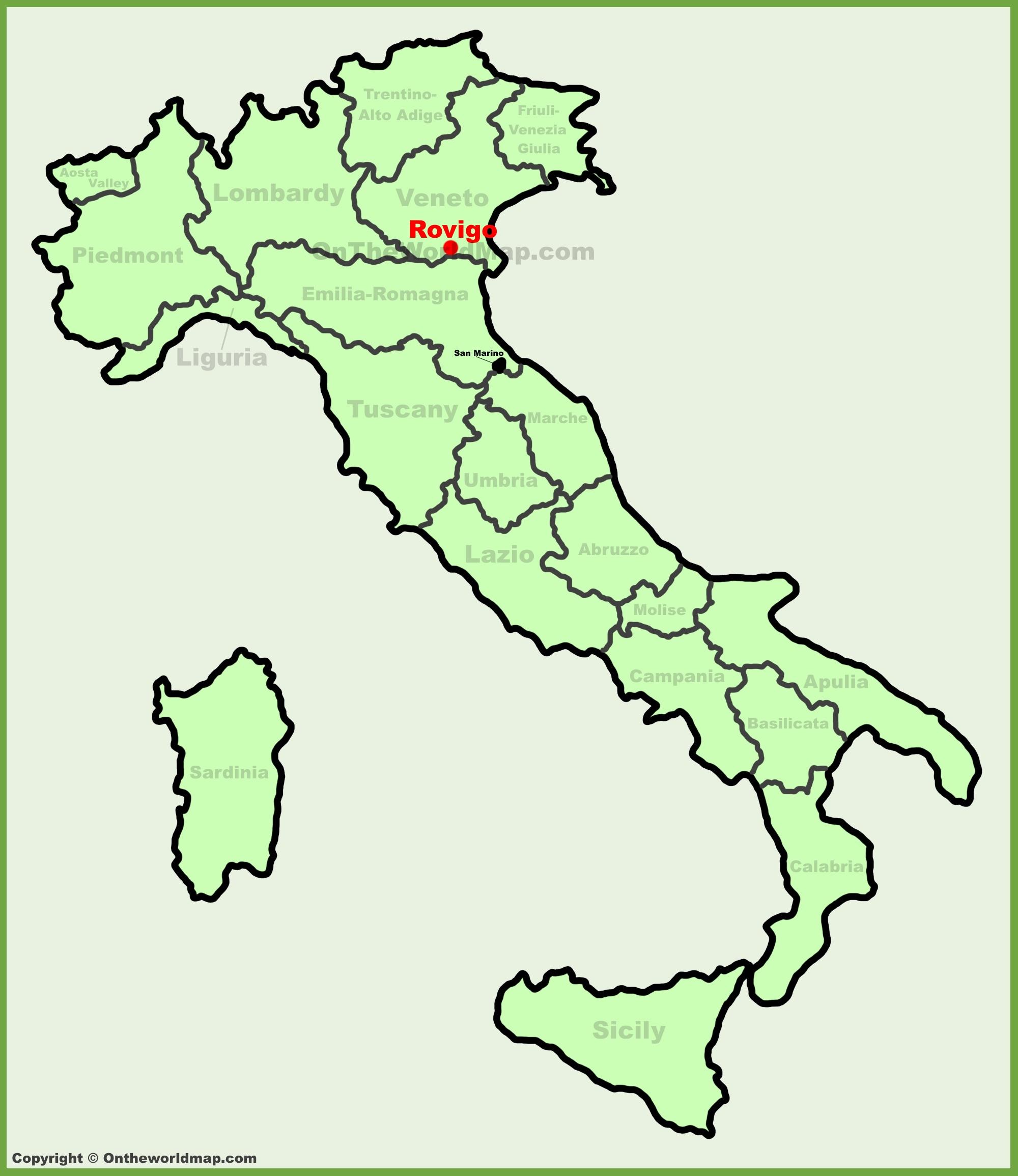 Cartina Dell Italia Rovigo.Rovigo Sulla Mappa Dell Italia