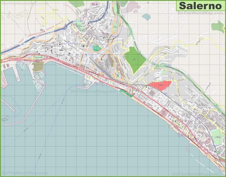 Large detailed map of Salerno
