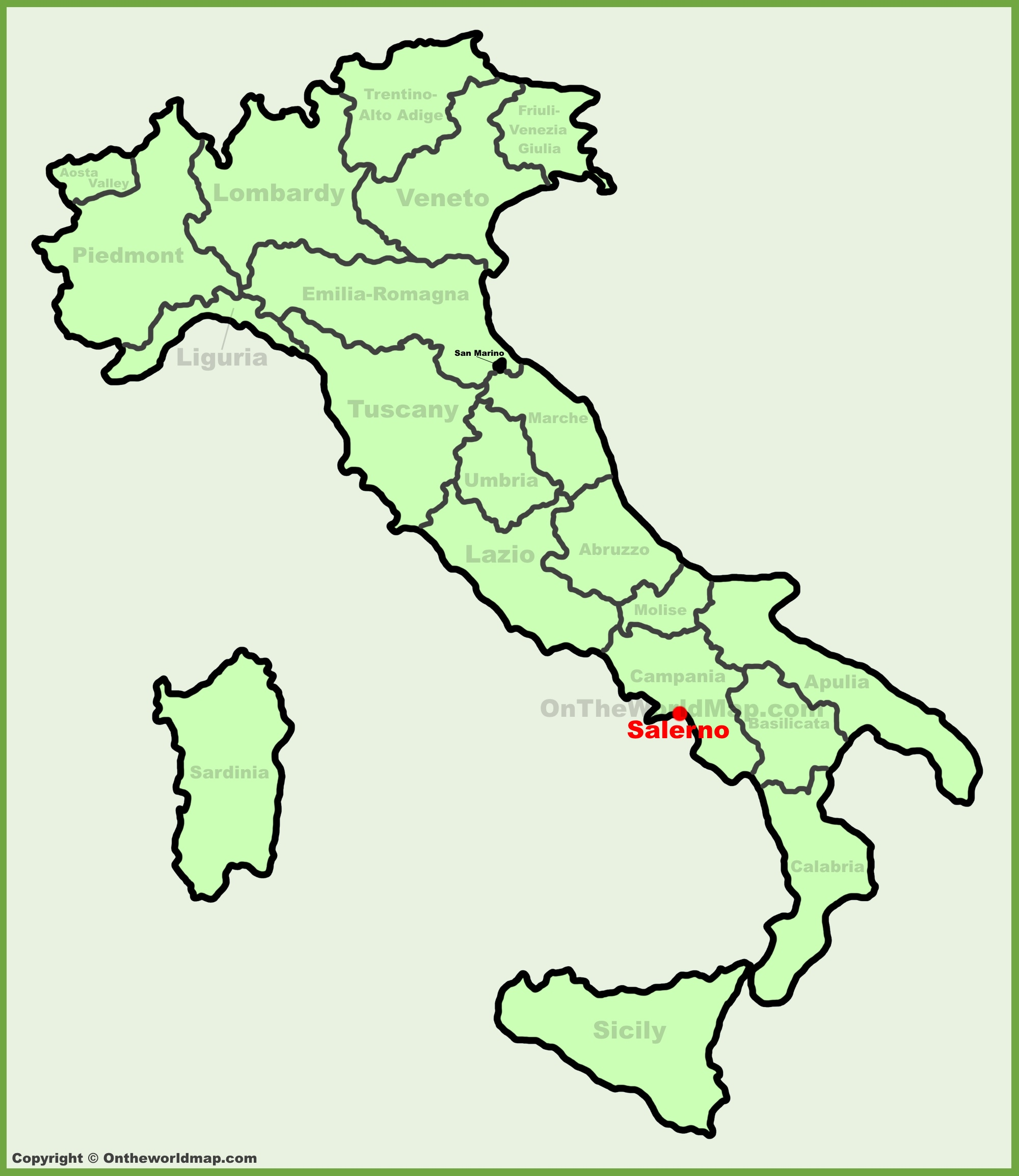 Salerno location on the Italy map