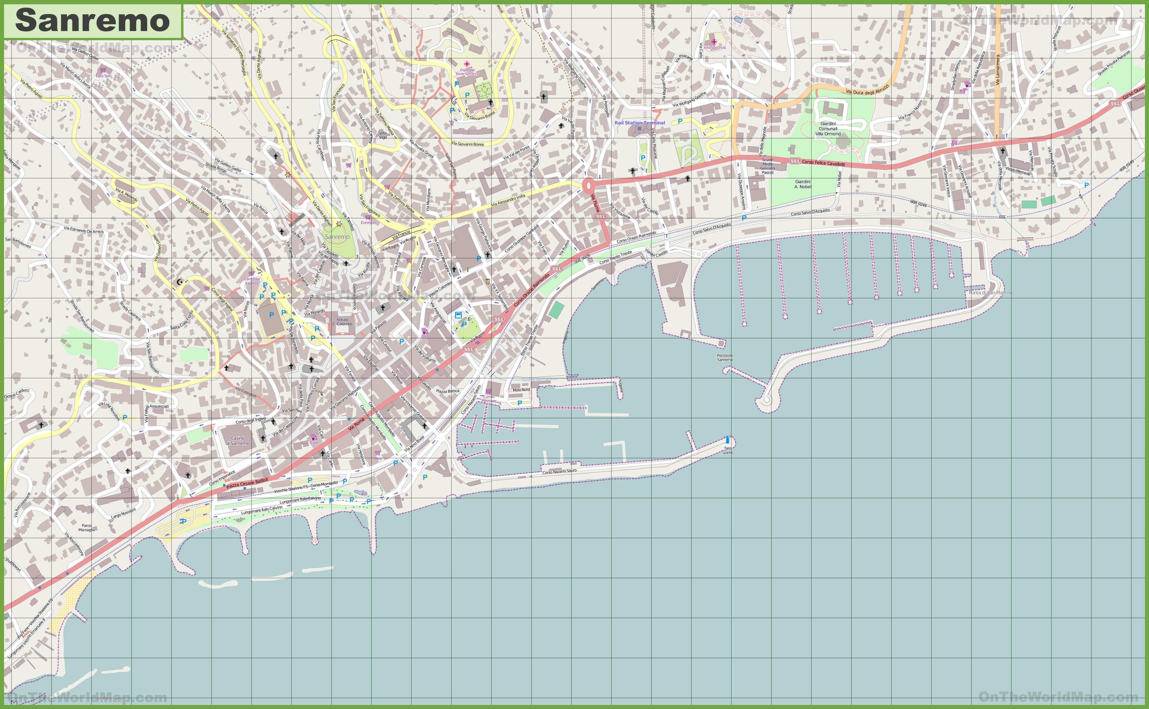 Large detailed map of Sanremo
