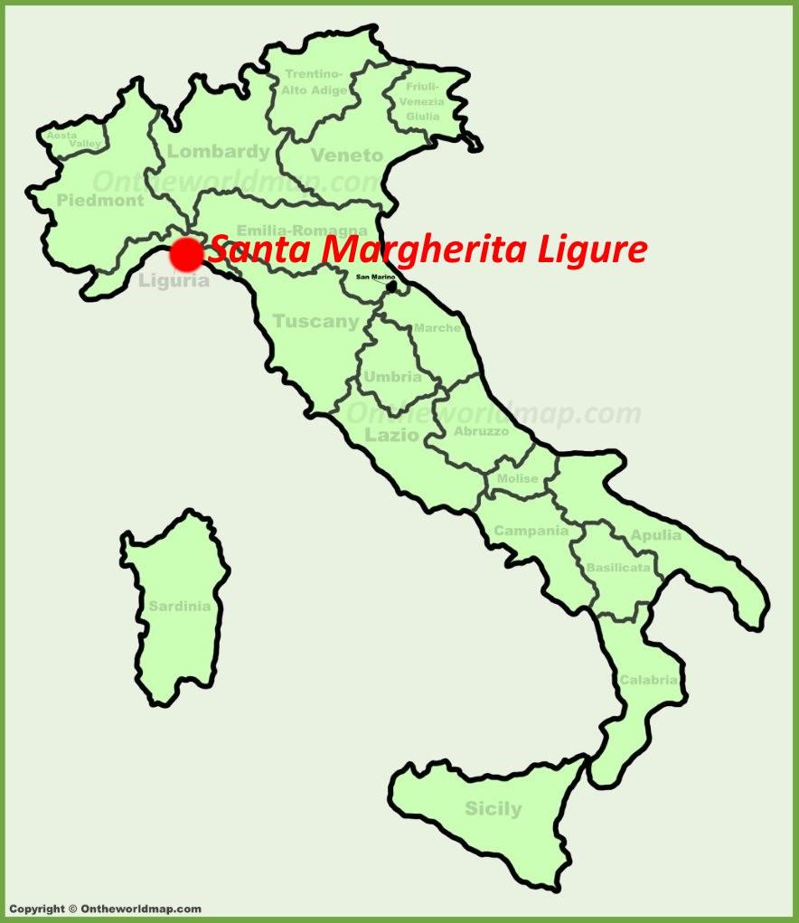 Santa Margherita Ligure location on the Italy map