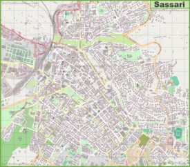 Large detailed map of Sassari