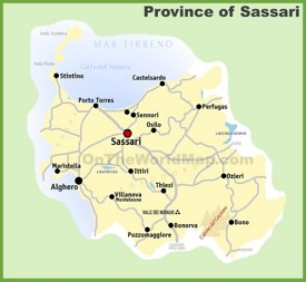 Province of Sassari map