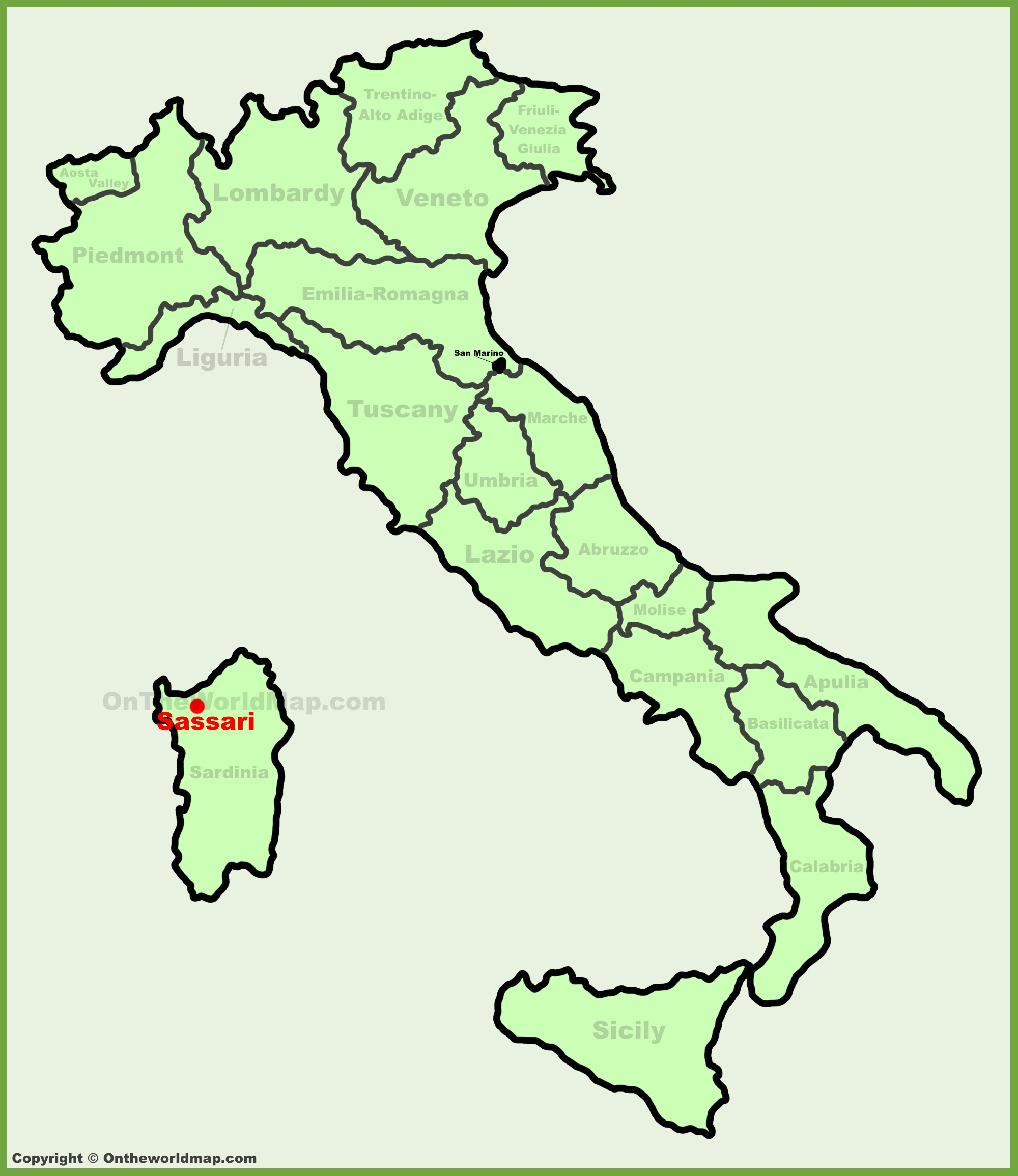 Sassari location on the Italy map