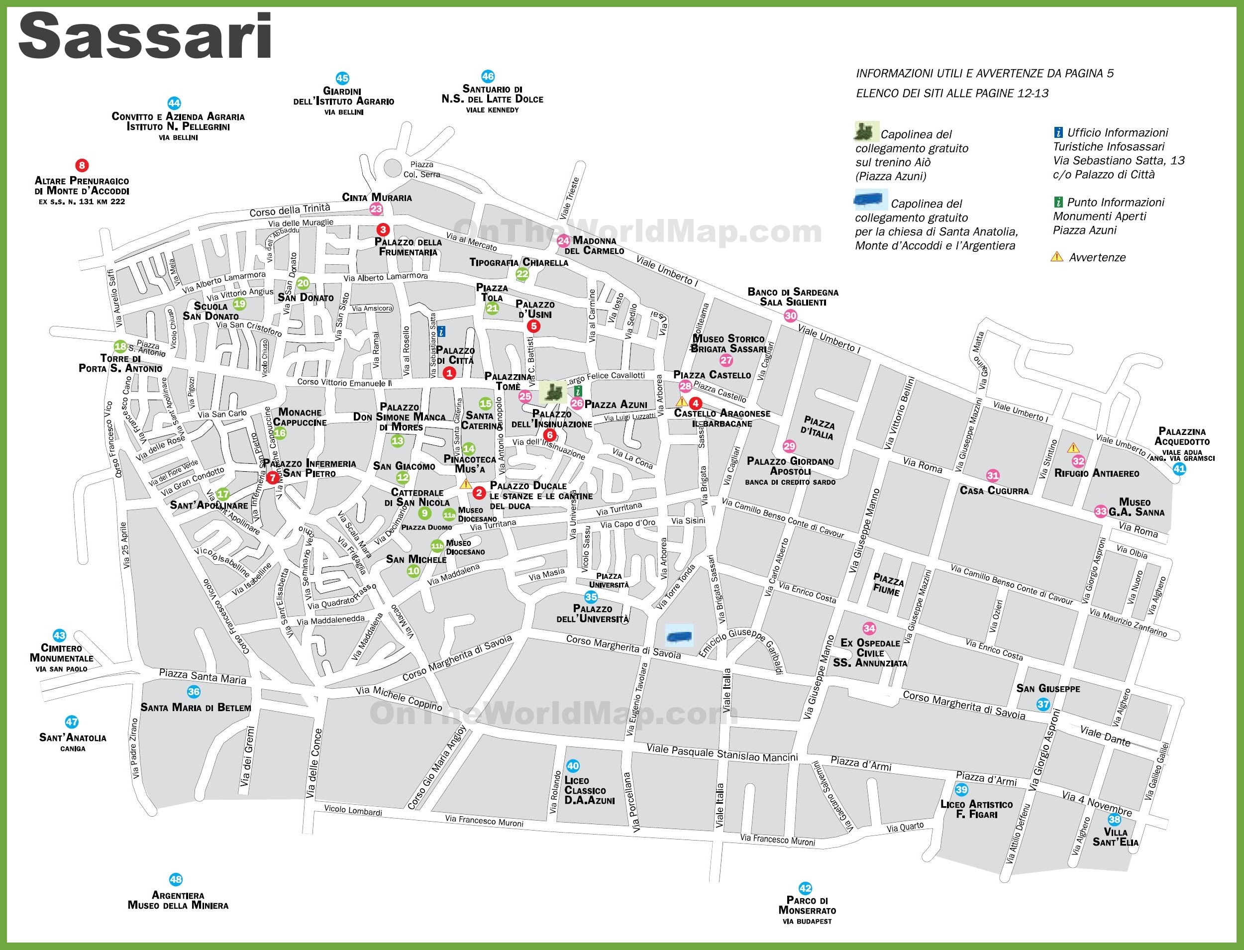 Sassari tourist map