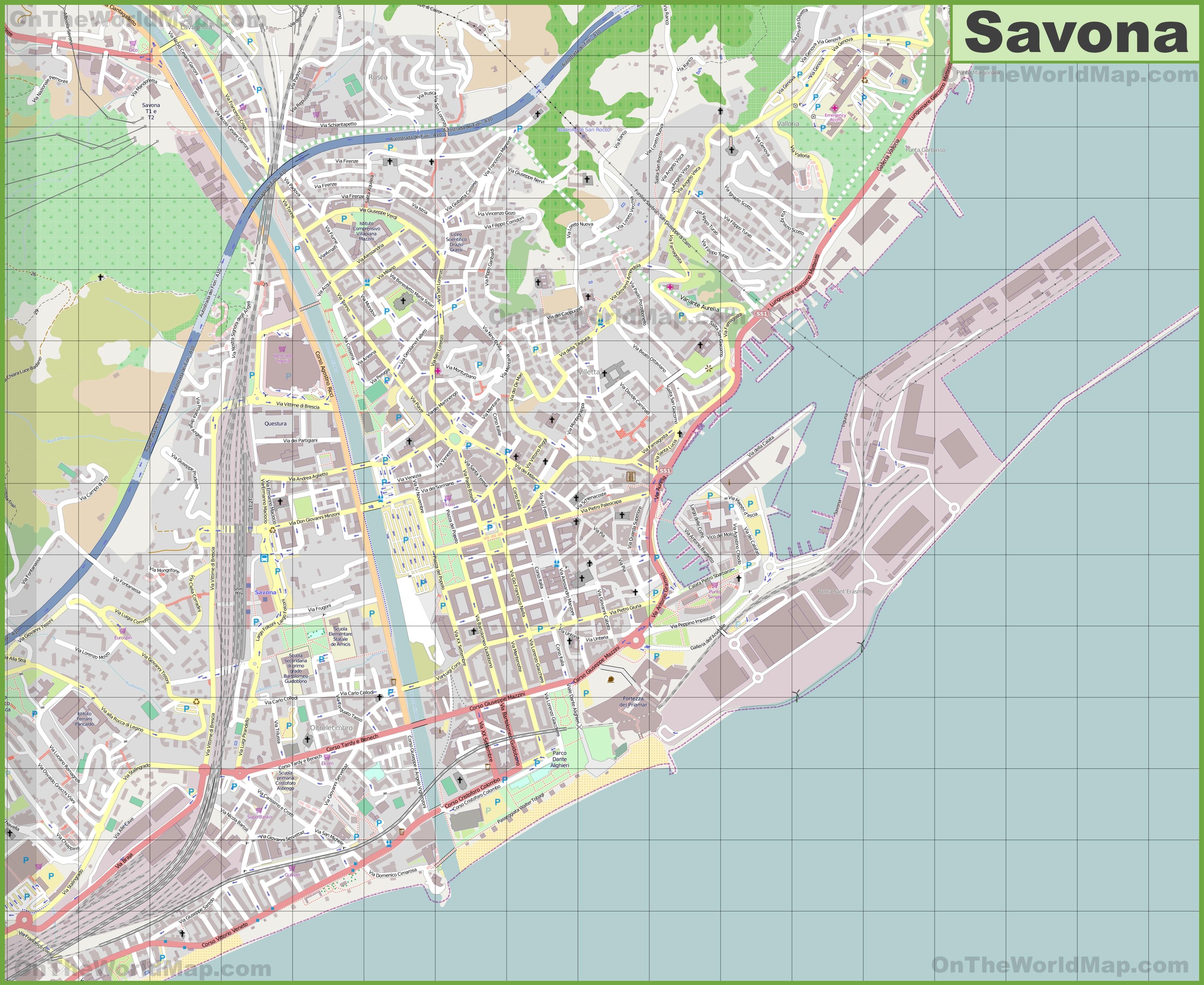 Large detailed map of Savona
