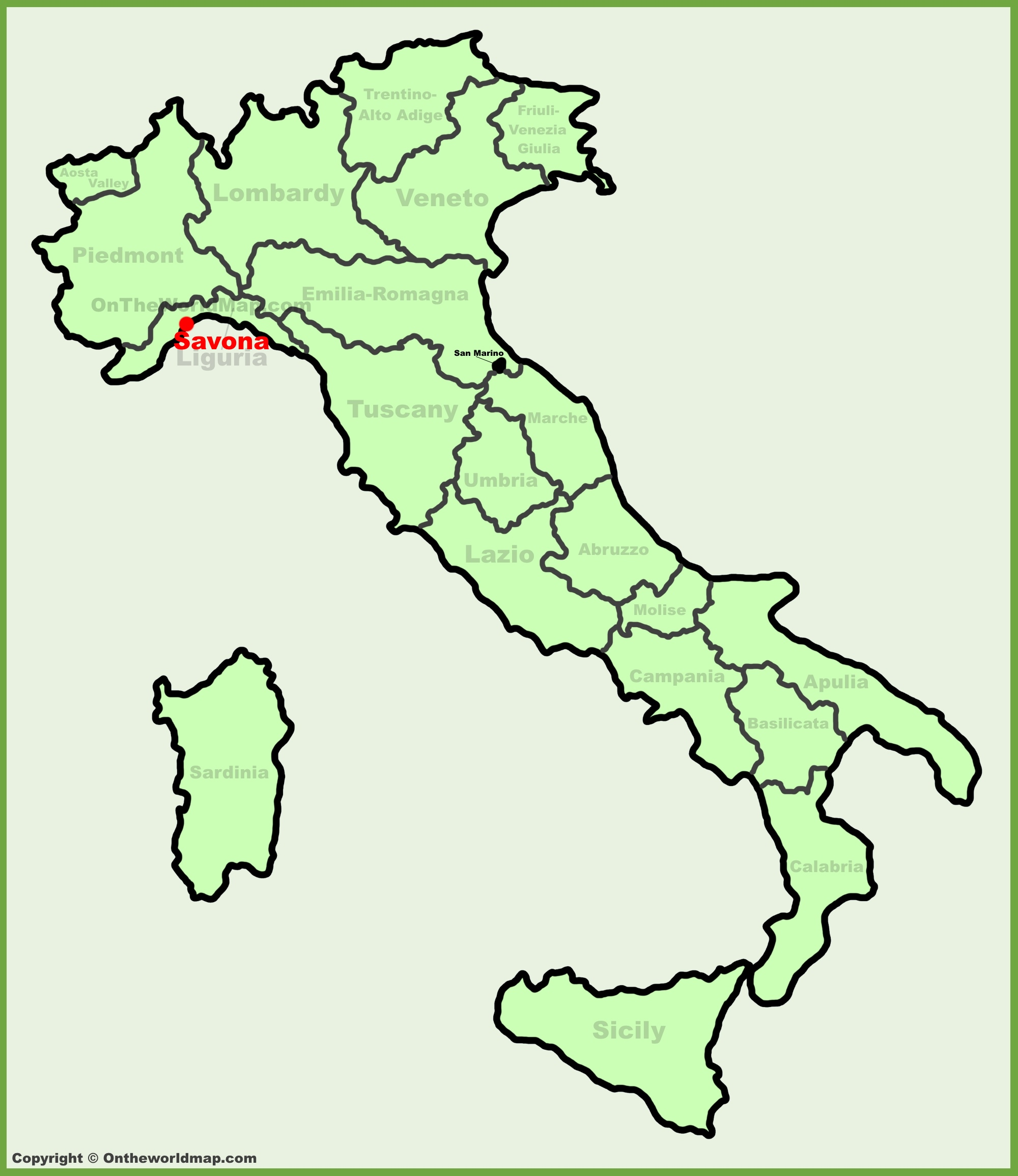 Savona location on the Italy map