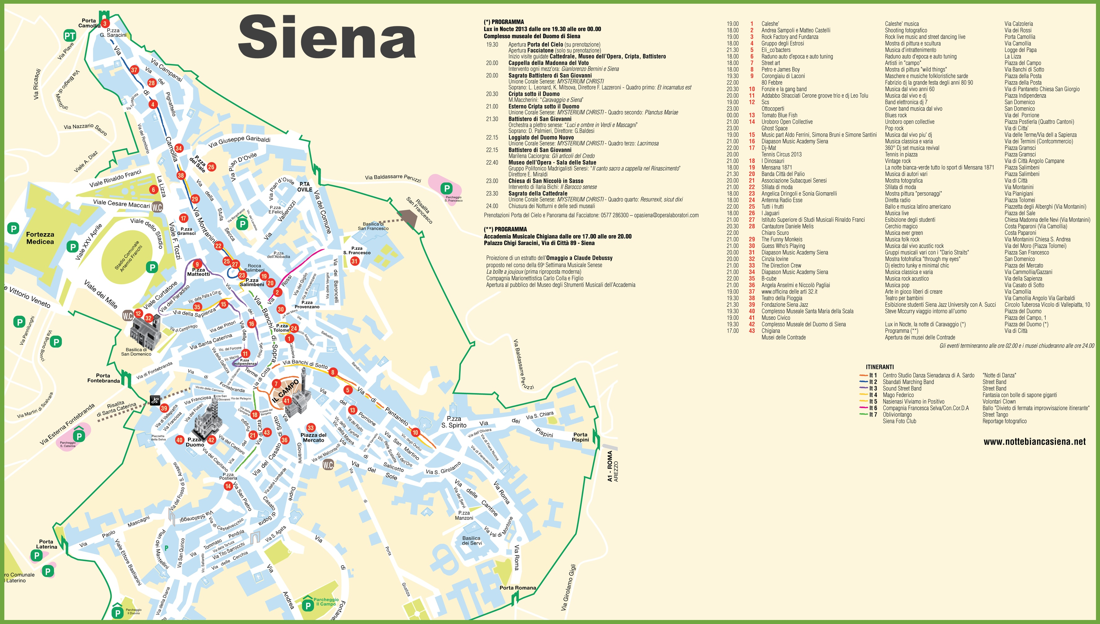 Siena tourist attractions map – Italy Tourist Attractions Map