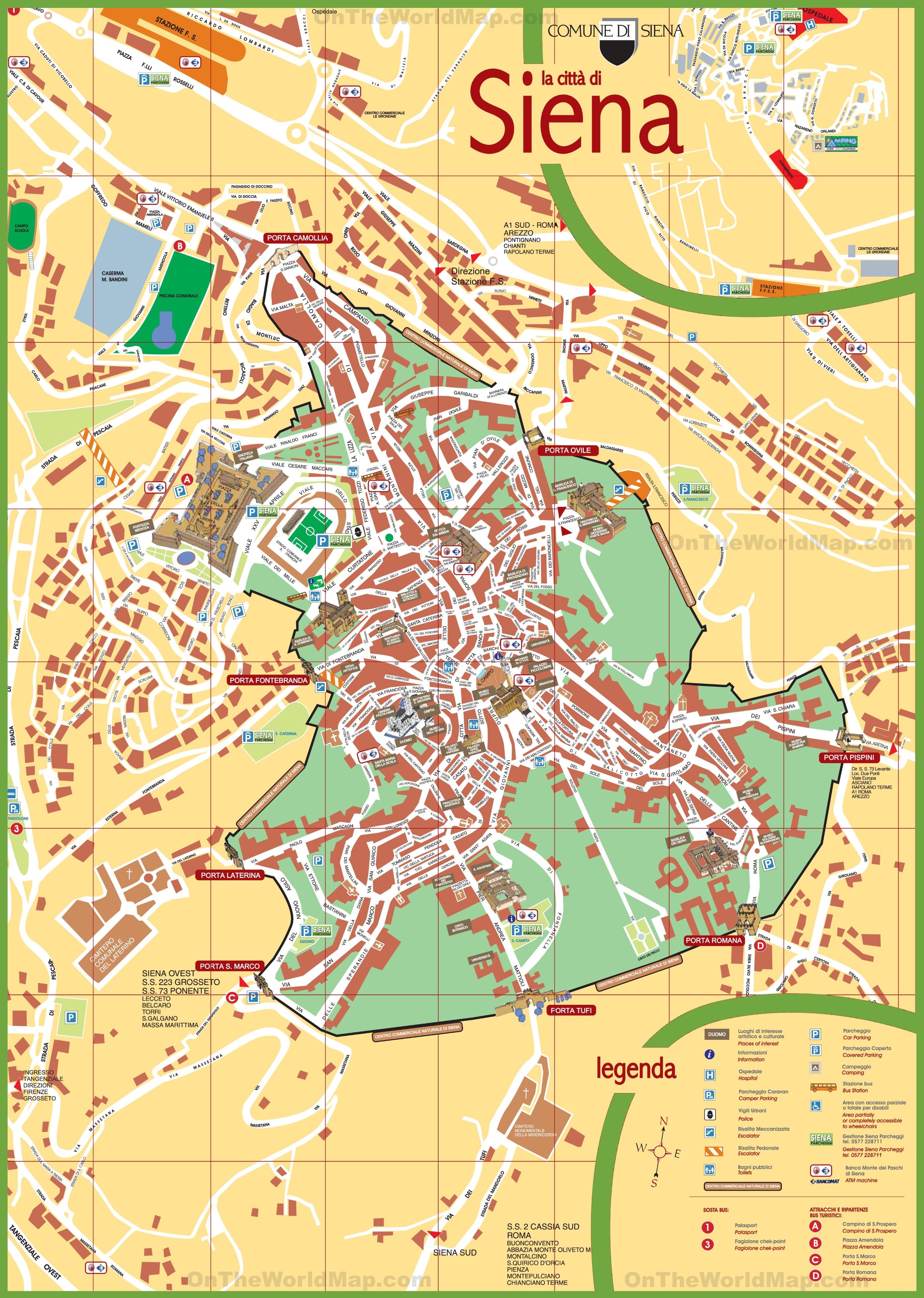 Siena Italy Map Siena tourist map
