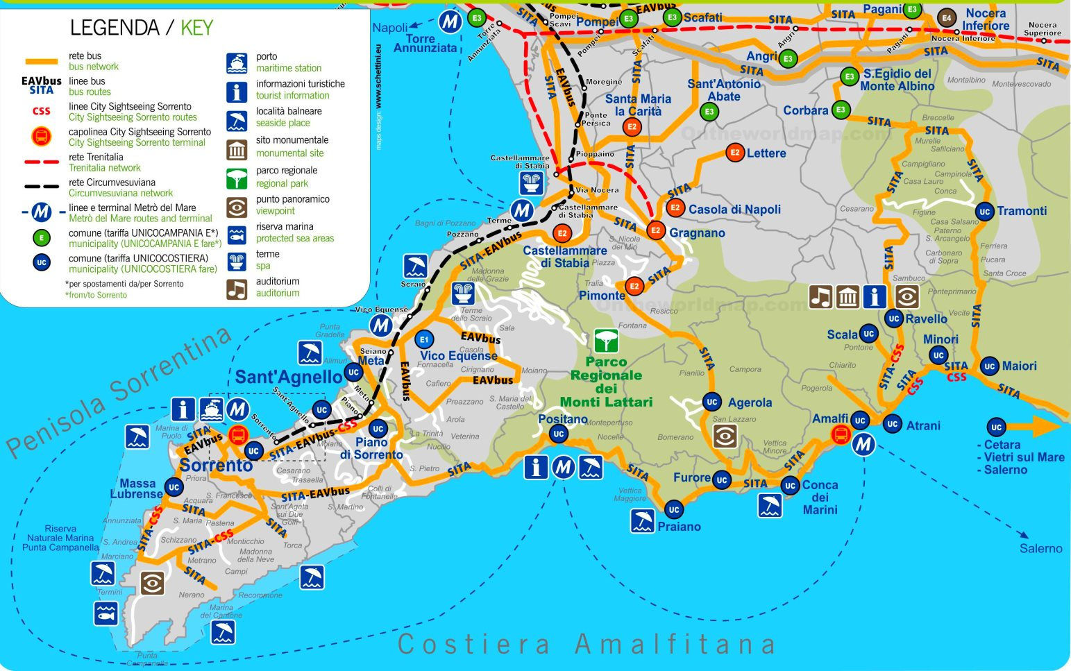Cartina Costiera Amalfitana E Capri.Sorrento E Costiera Amalfitana