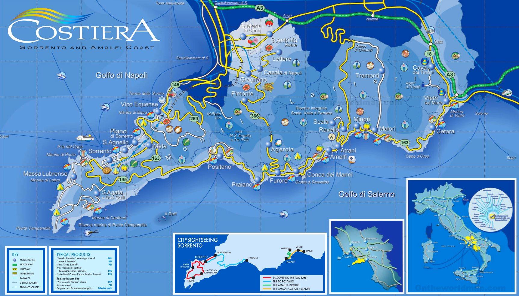Sorrento Peninsula and Amalfi Coast Map on genoa map, cagliari map, venice map, lake como map, salerno map, croatia map, spain map, cinque terre map, greece map, sorrento map, france map, umbria map, sicily map, capri map, europe map, italy map, positano map, naples map, tuscany map, turin map,