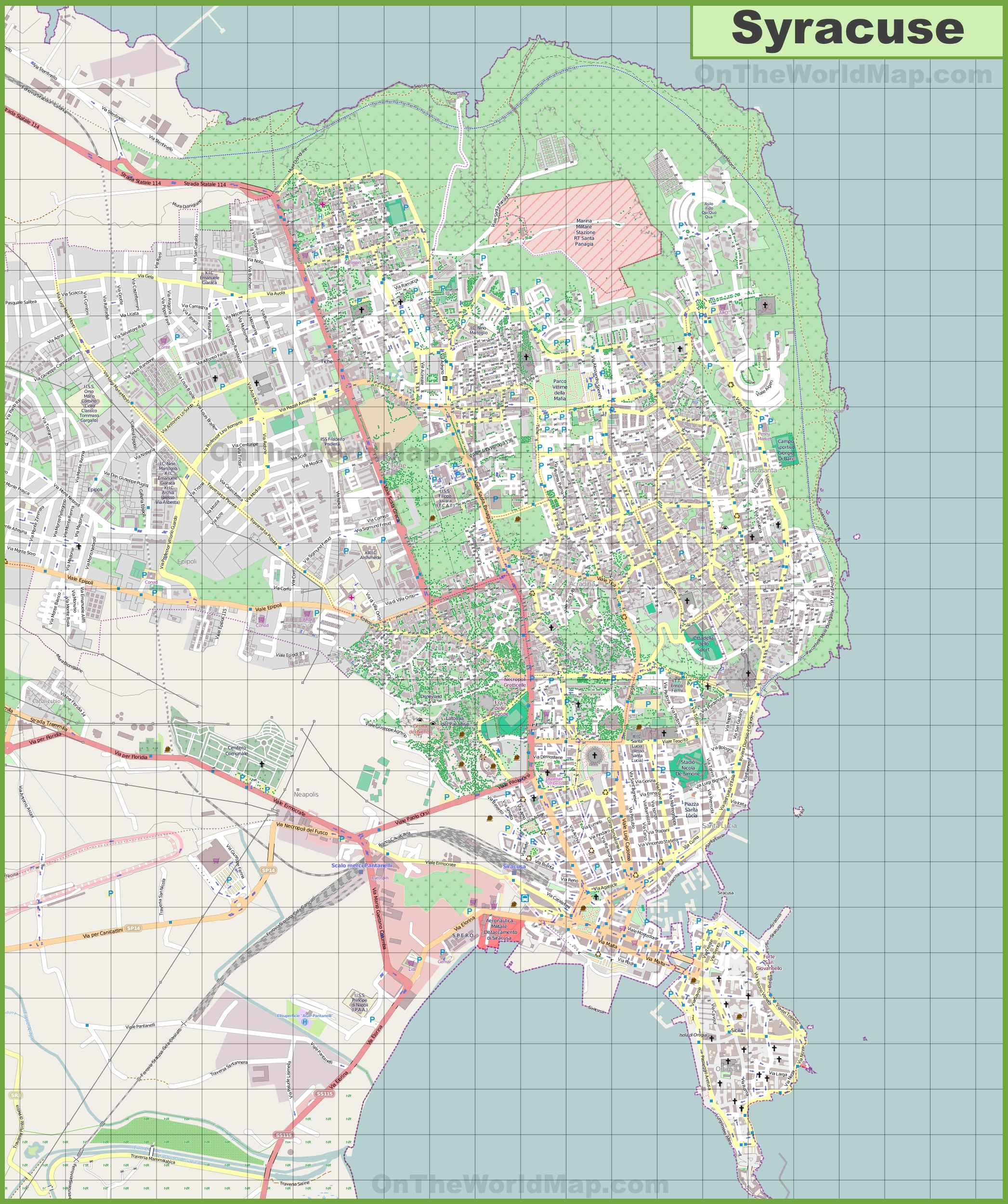 Large Detailed Map Of Syracuse