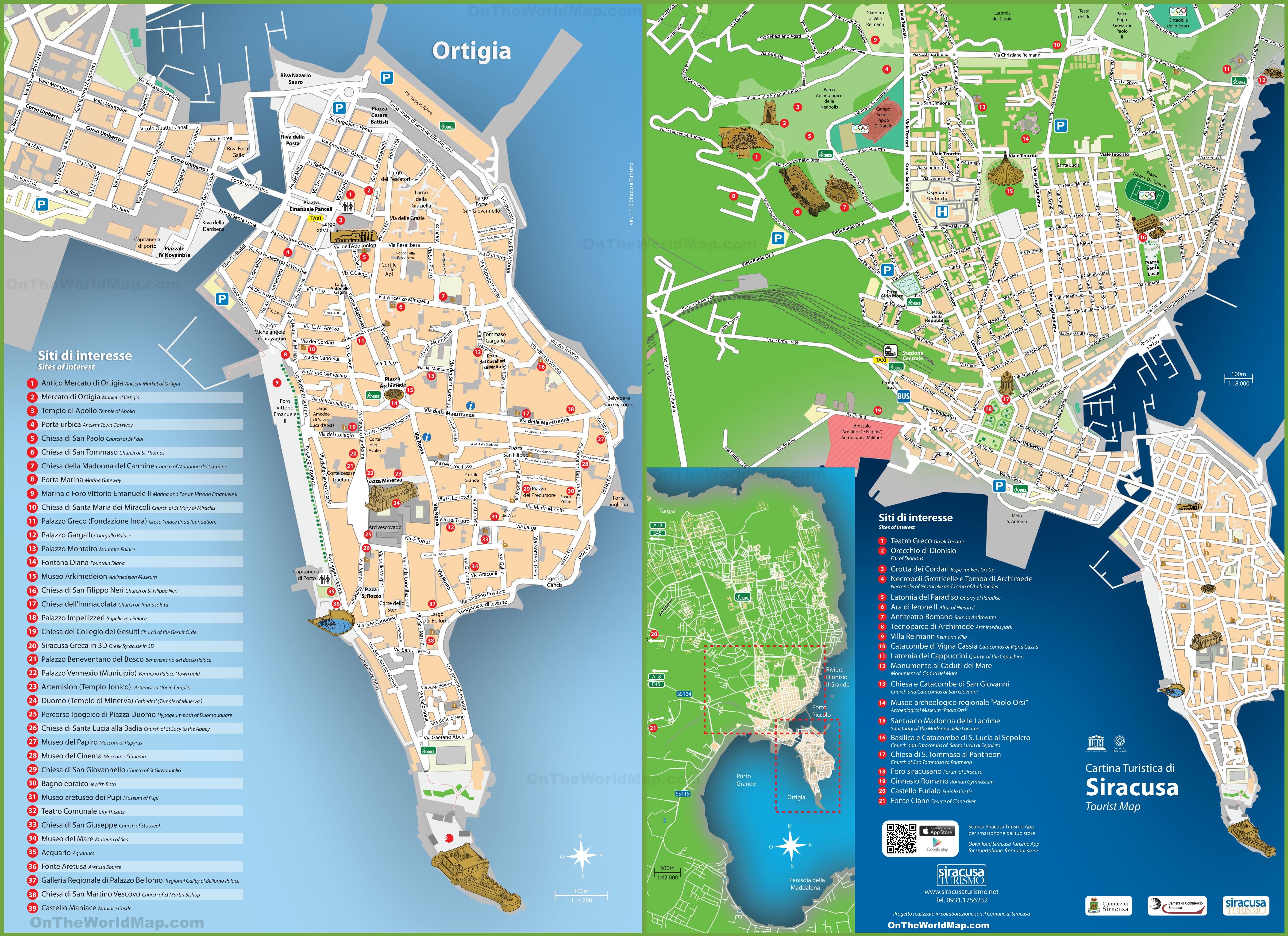 Syracuse Maps Sicily Italy Maps of Syracuse Siracusa