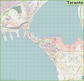 Large detailed map of Taranto