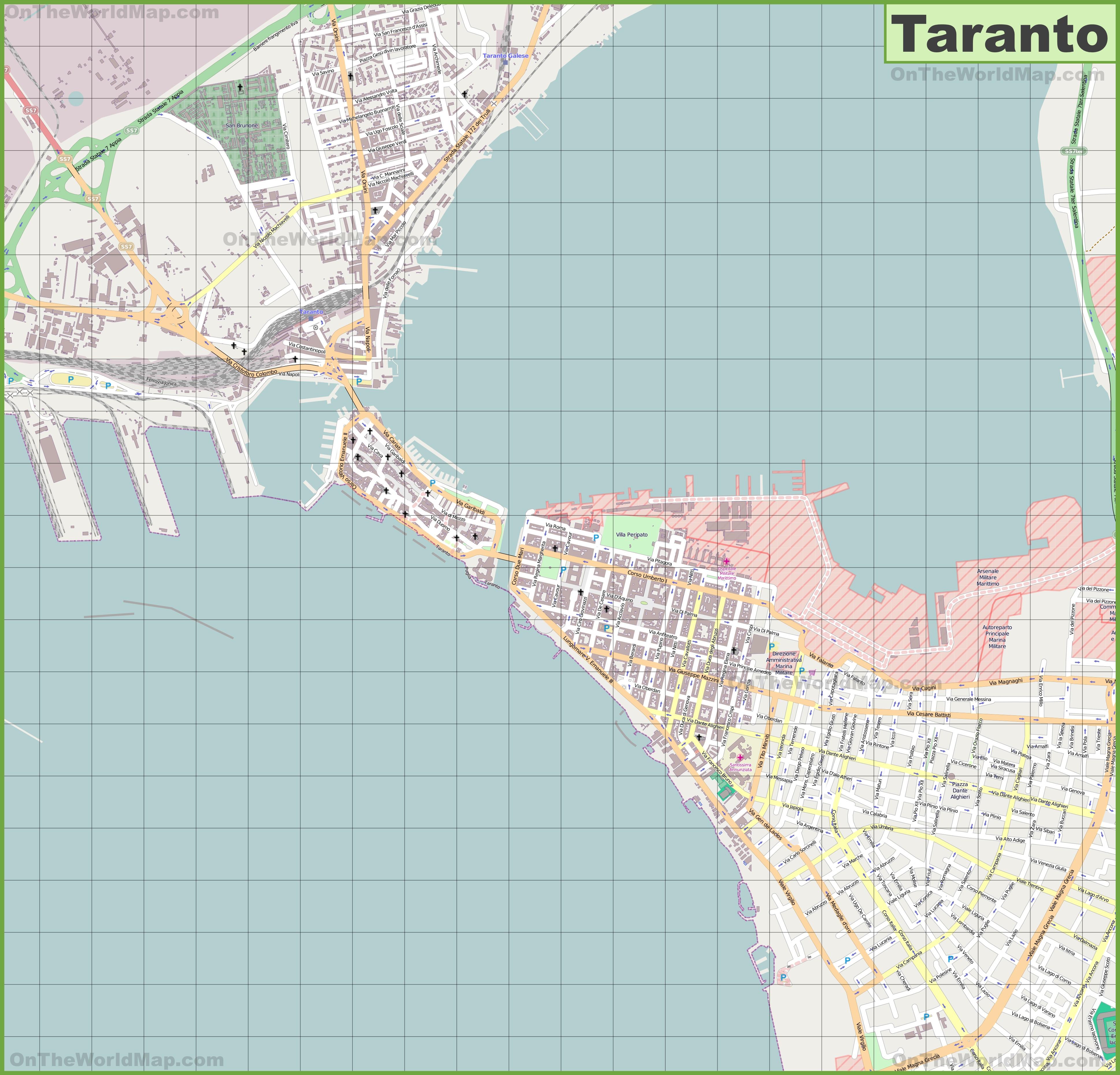 Large detailed map of Taranto