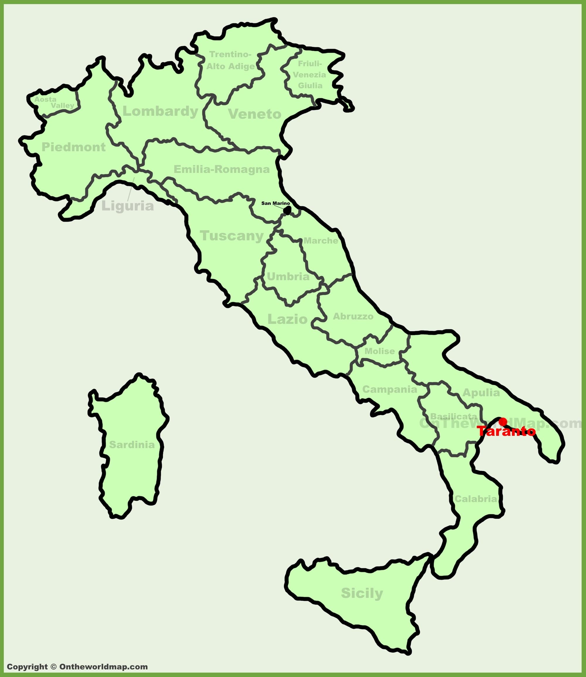 Taranto location on the Italy map