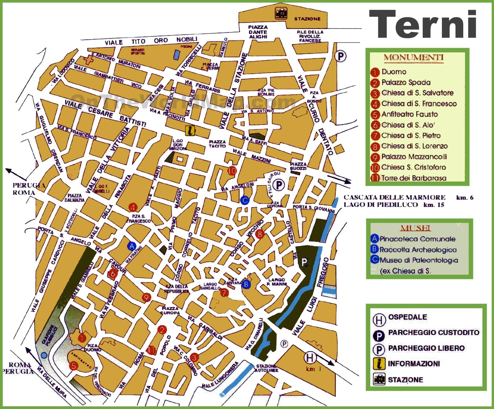Terni tourist map