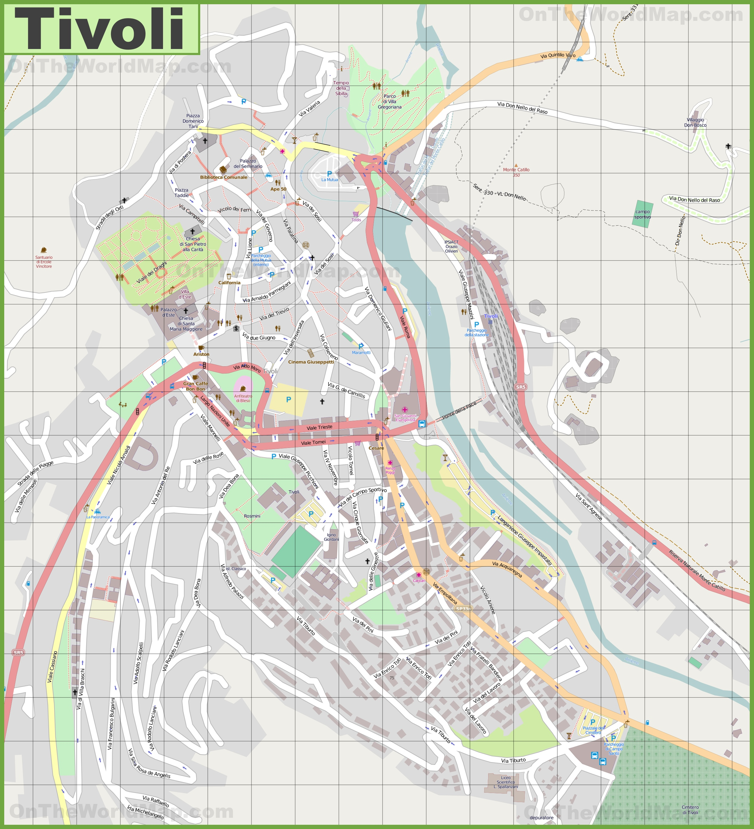 Detailed Map Of Italy In English.Large Detailed Map Of Tivoli