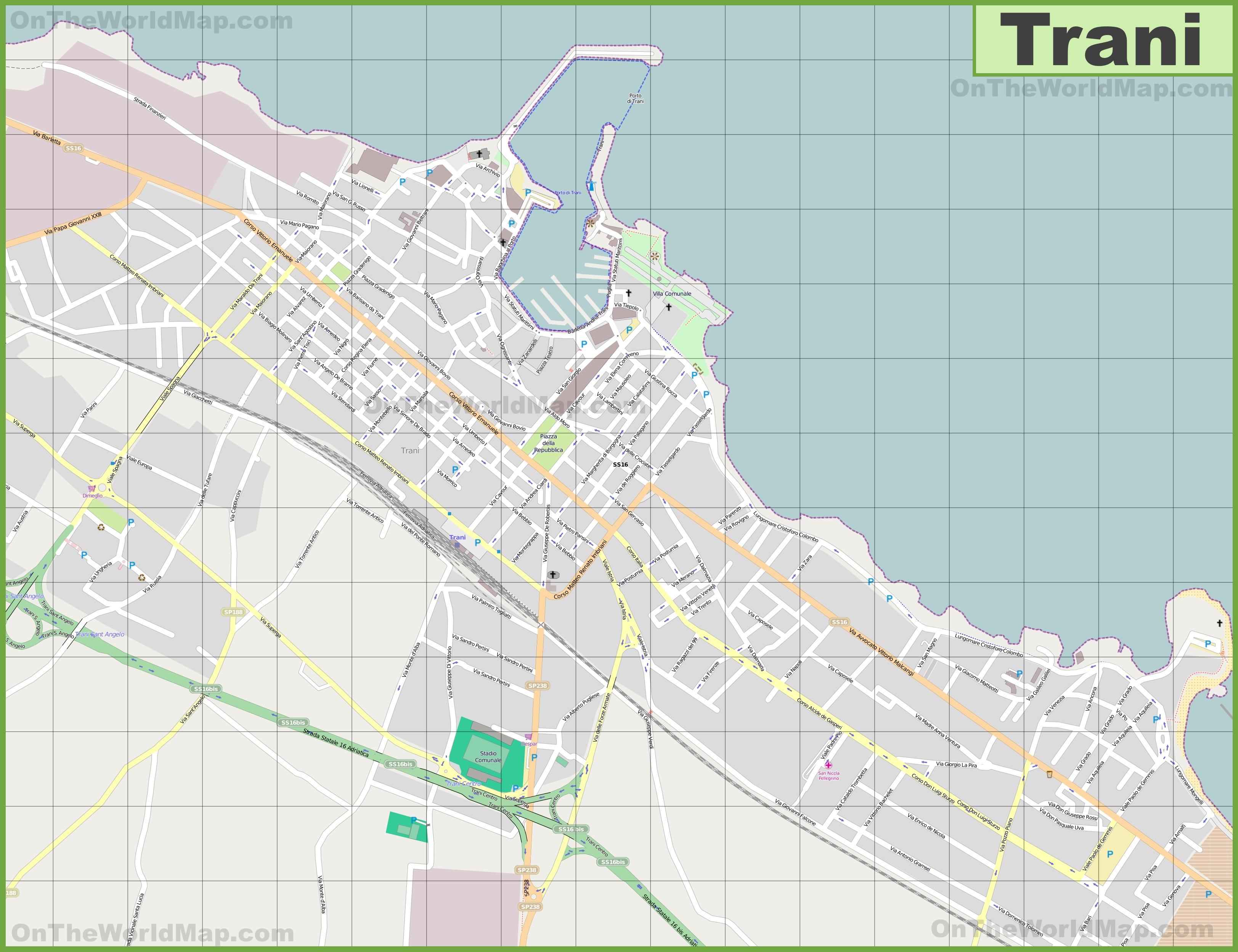 Large detailed map of Trani