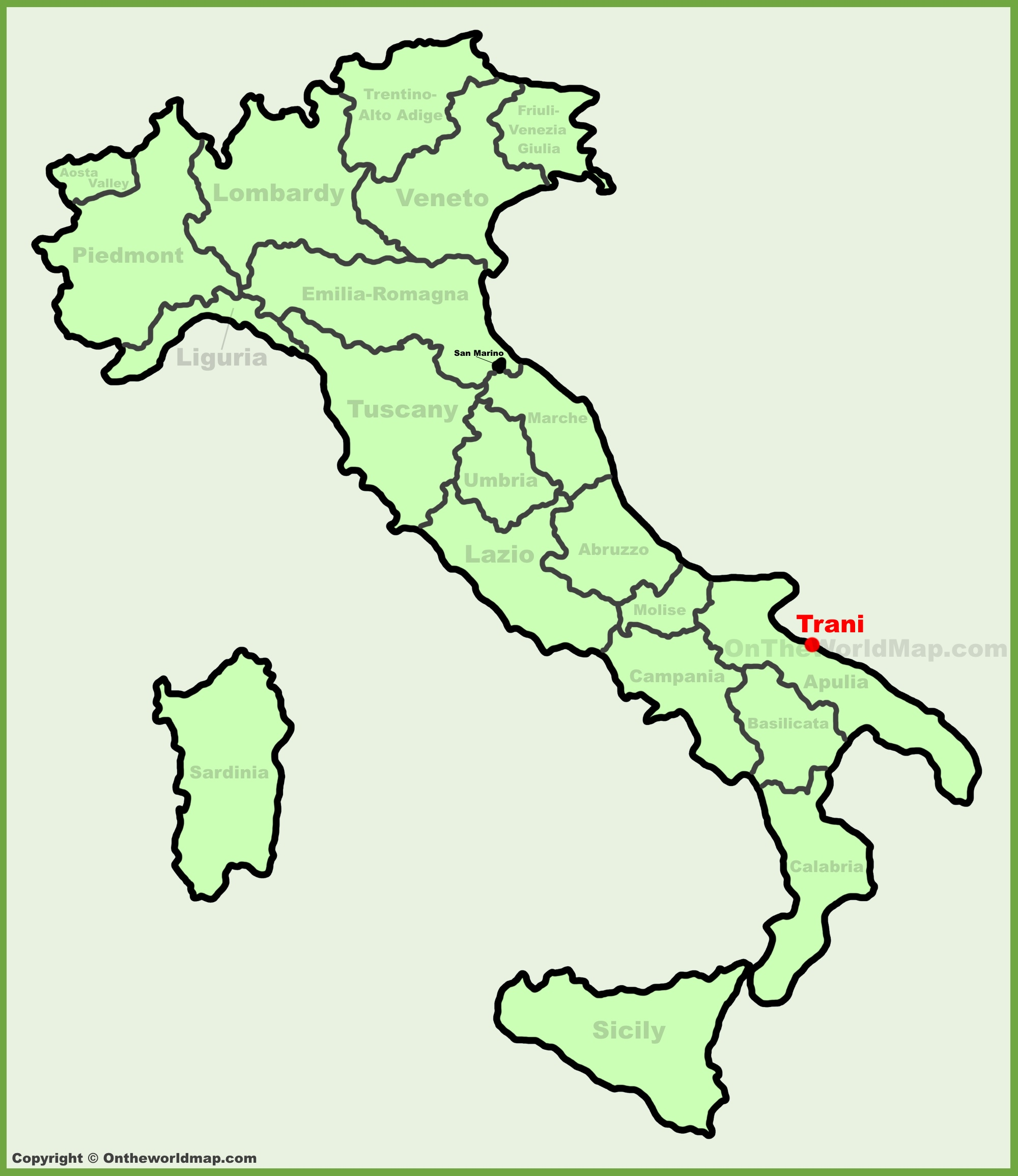 Trani location on the Italy map