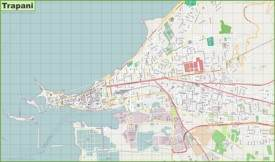Large detailed map of Trapani