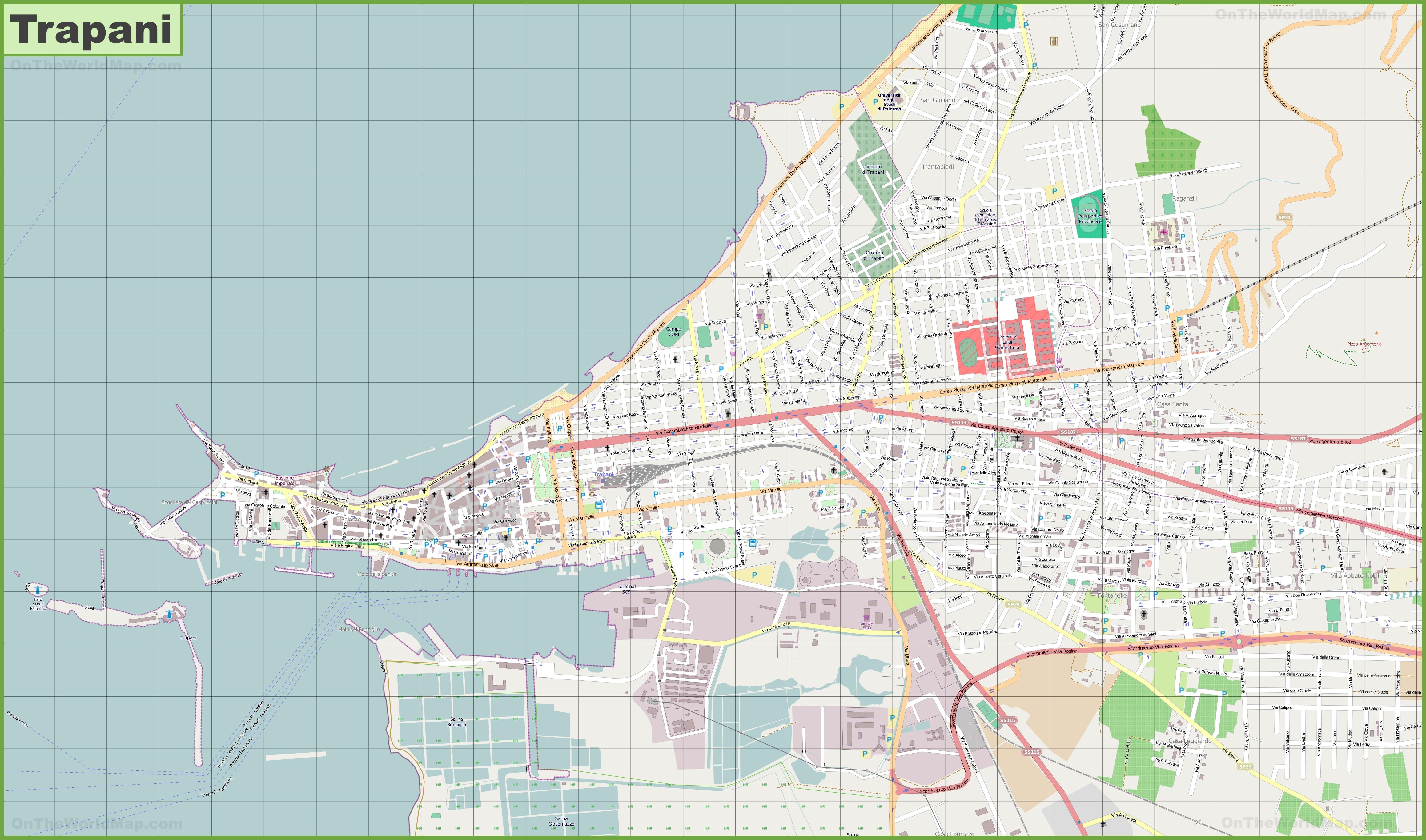 Large detailed map of Trapani