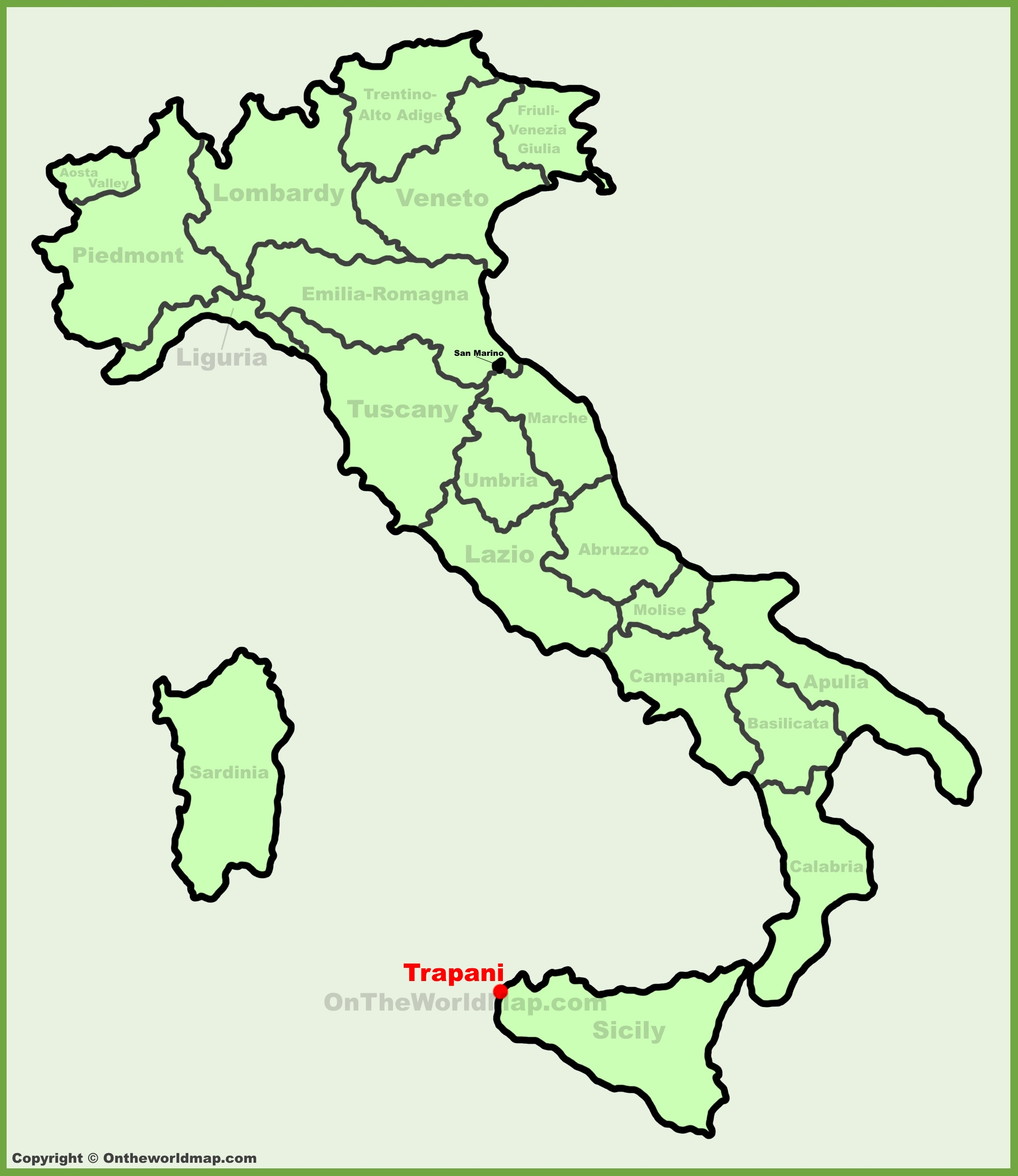 Trapani location on the Italy map