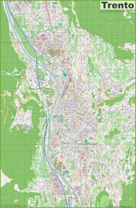 Large detailed map of Trento