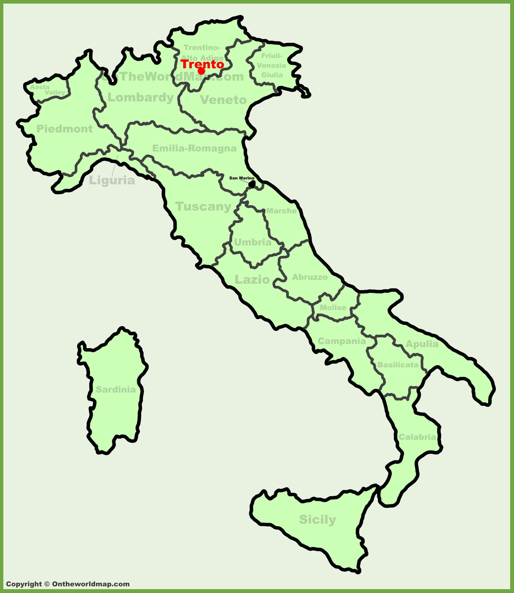Trento location on the Italy map