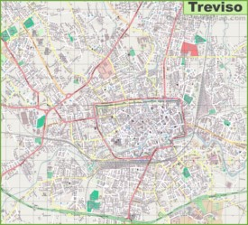 Large detailed map of Treviso