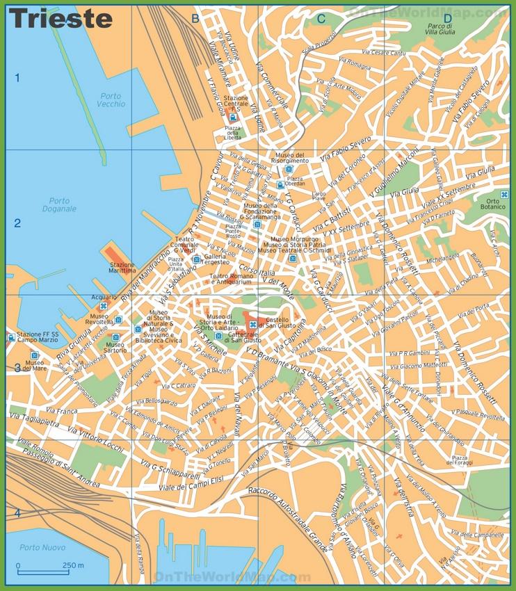 Tourist map of Trieste city centre
