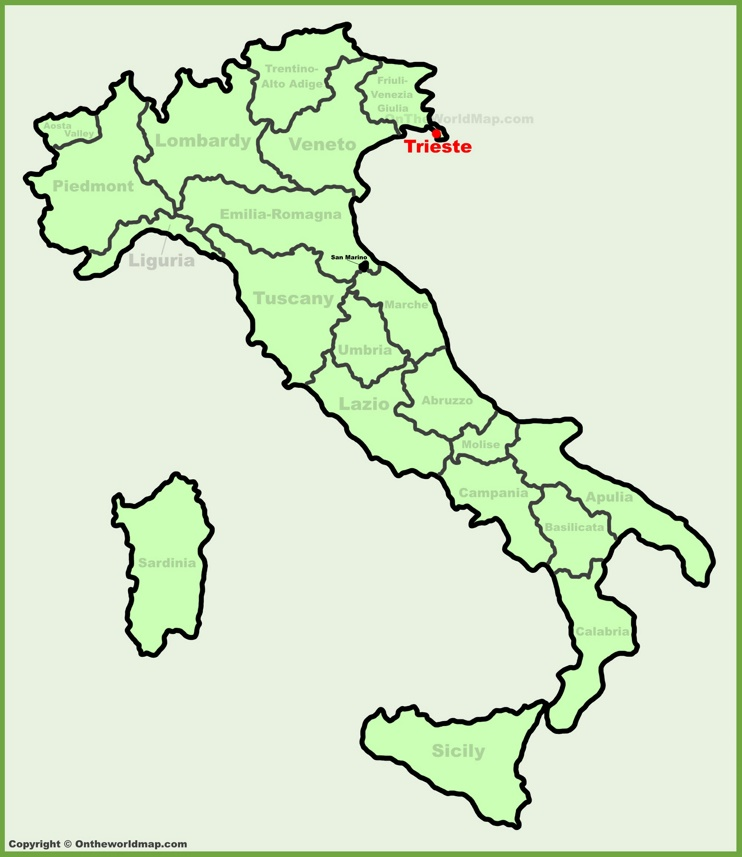 Trieste location on the Italy map