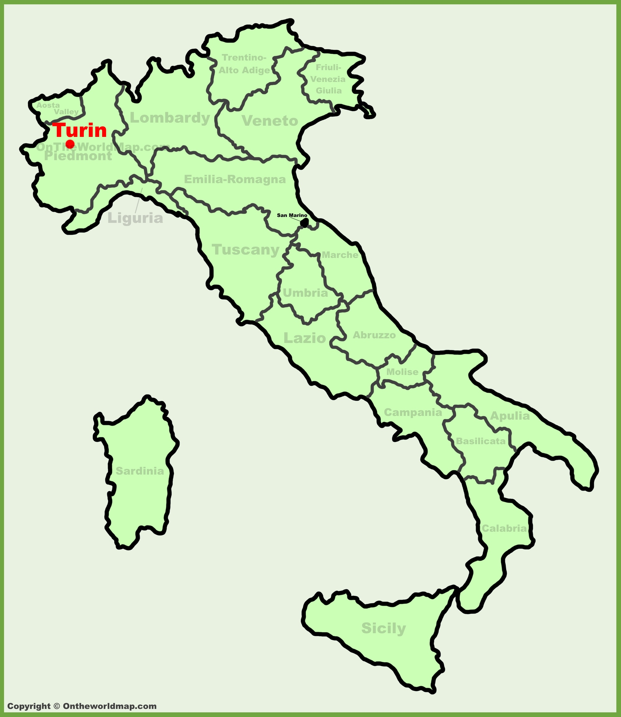 Map Of Italy Torino.Turin Location On The Italy Map