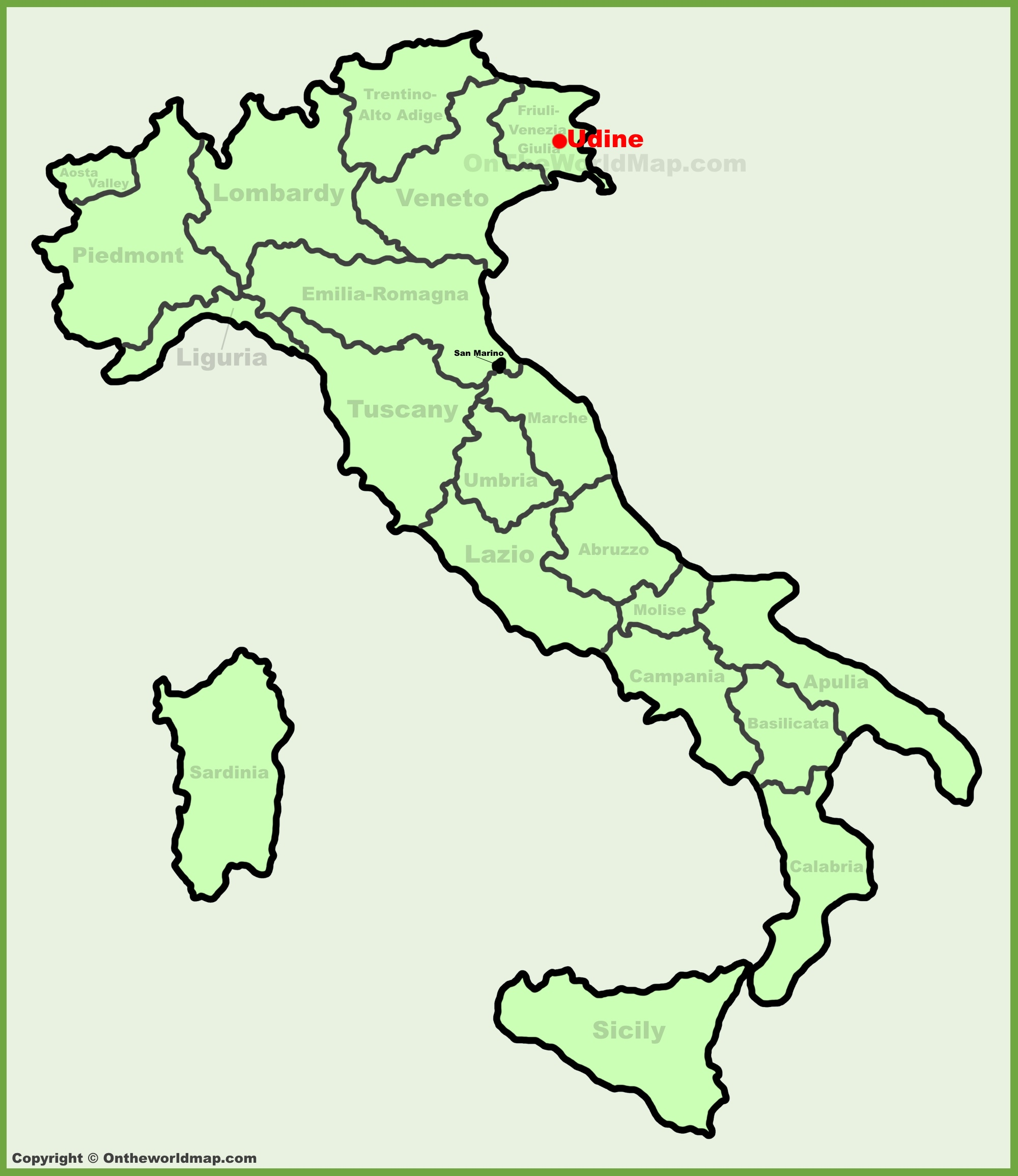 Udine location on the Italy map