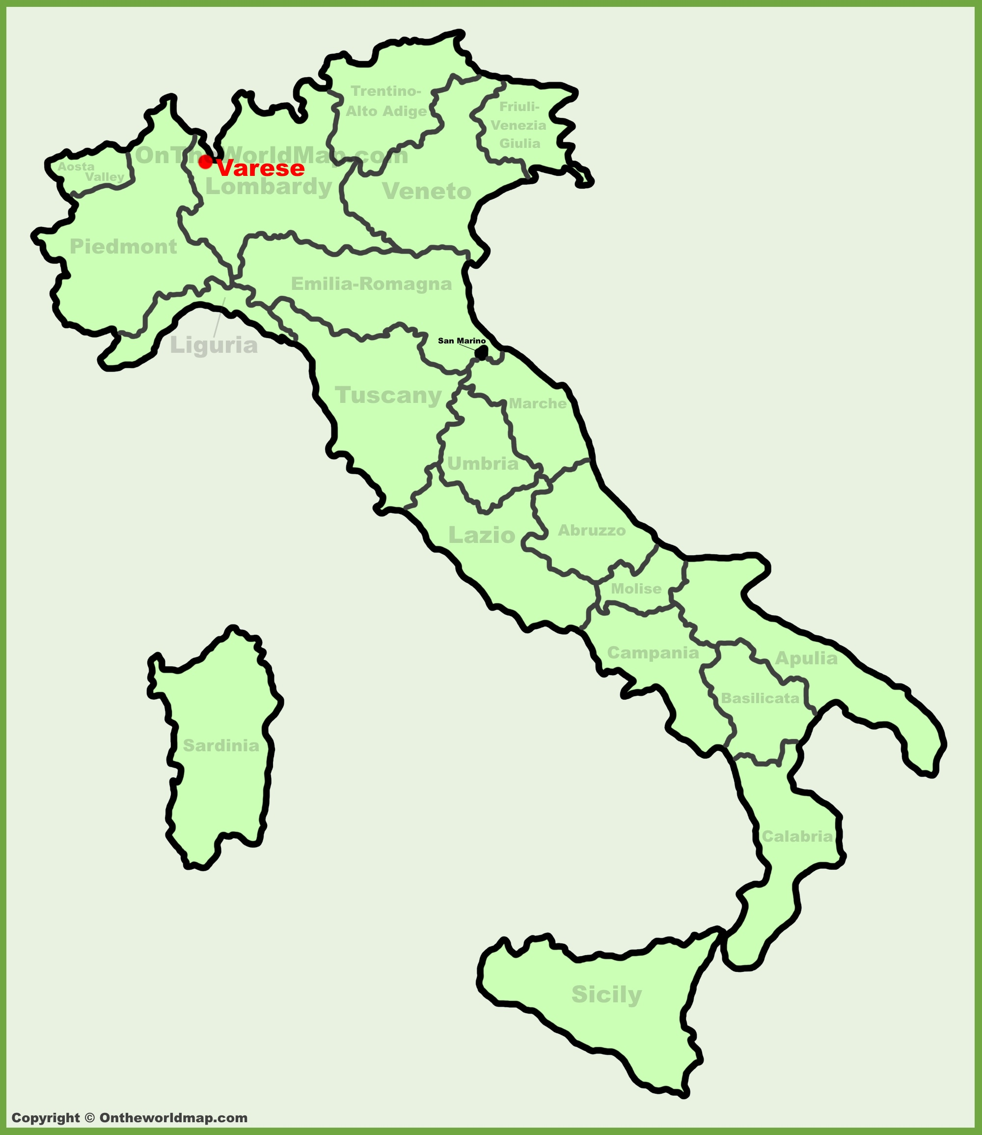 Varese location on the Italy map