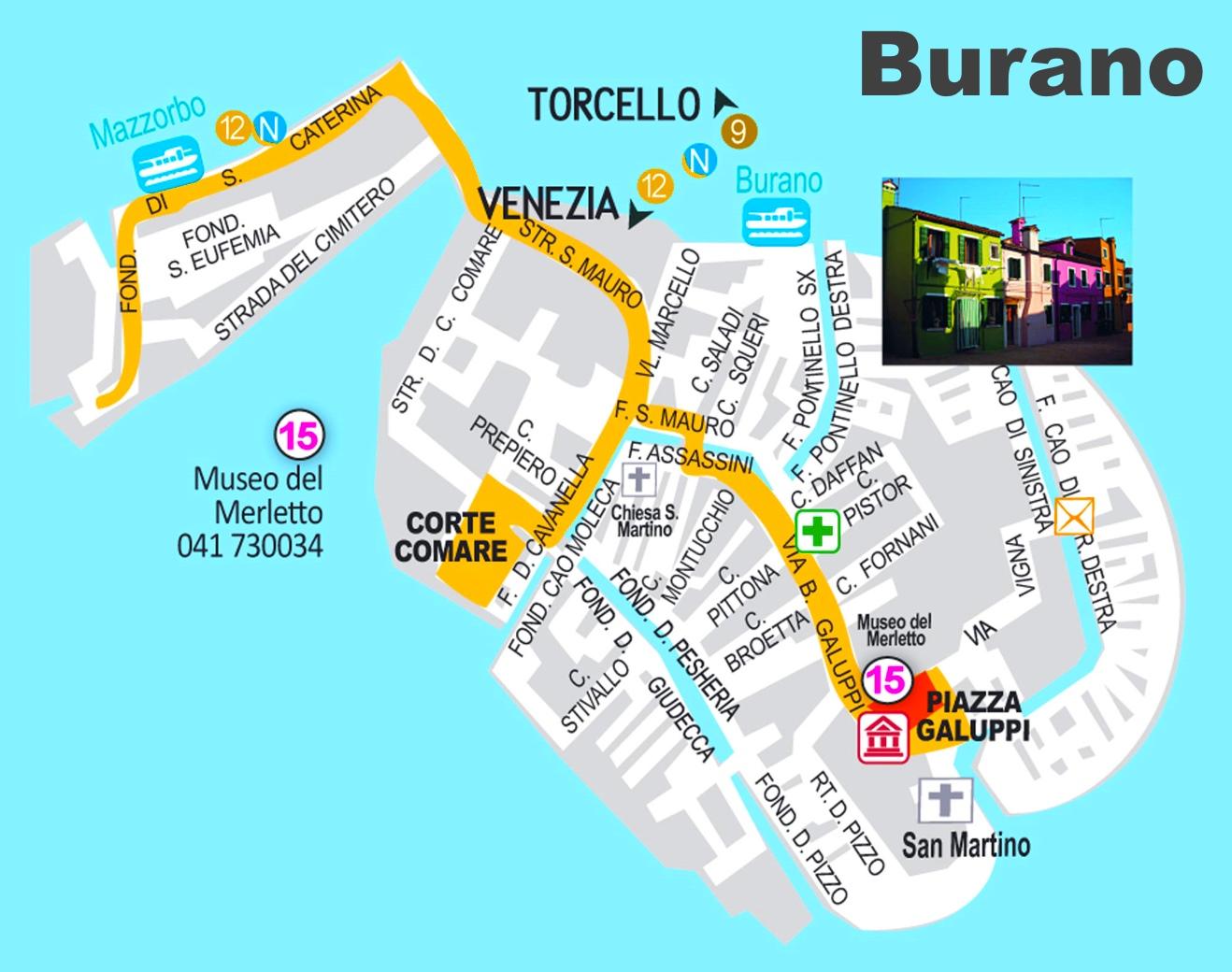 Cartina Turistica Di Venezia.Burano Mappa Turistica