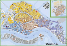 Large detailed tourist map of Venice