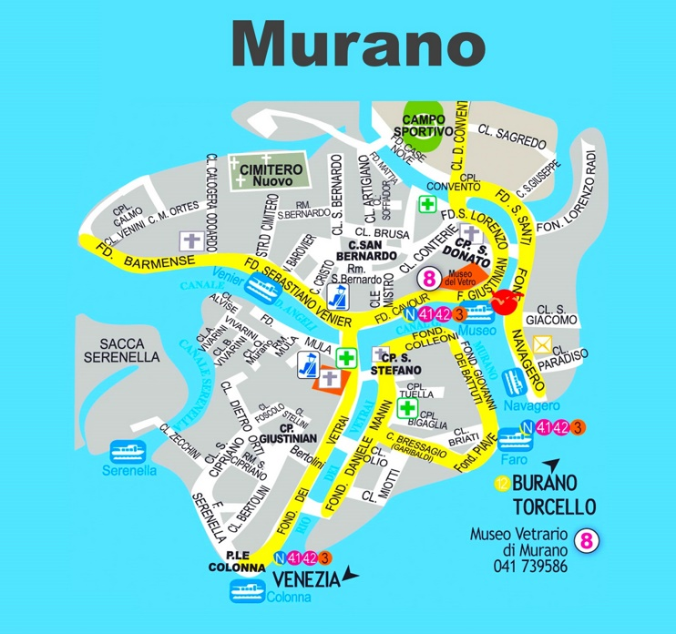 Murano tourist map