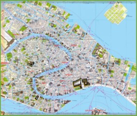 Tourist map of Venice city centre